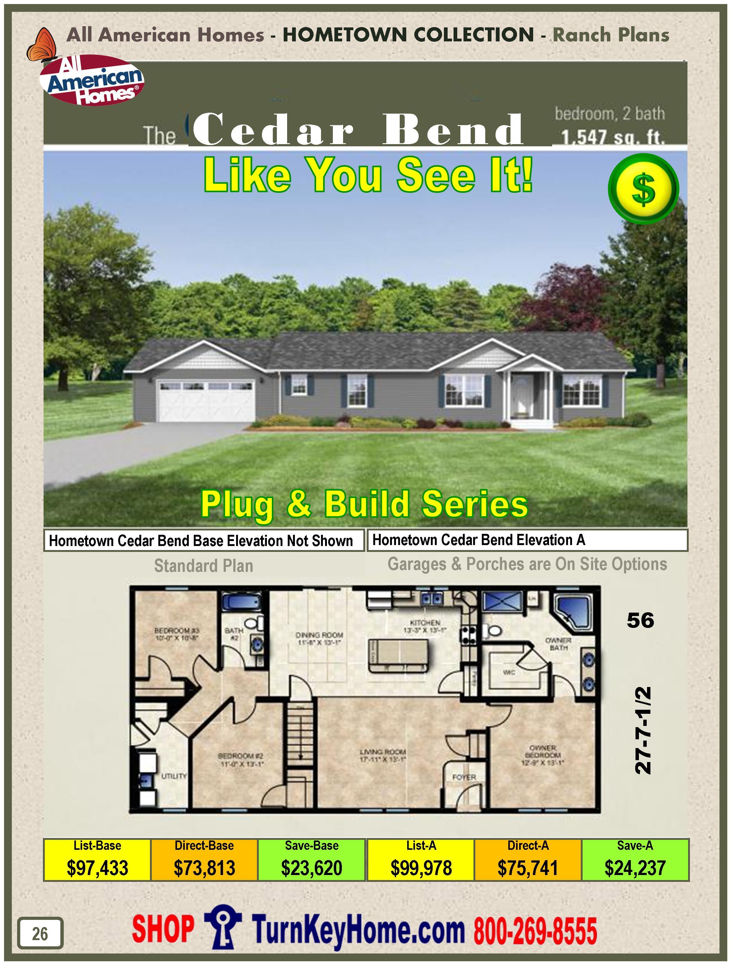 cedar bend all american modular home hometown collection plan price