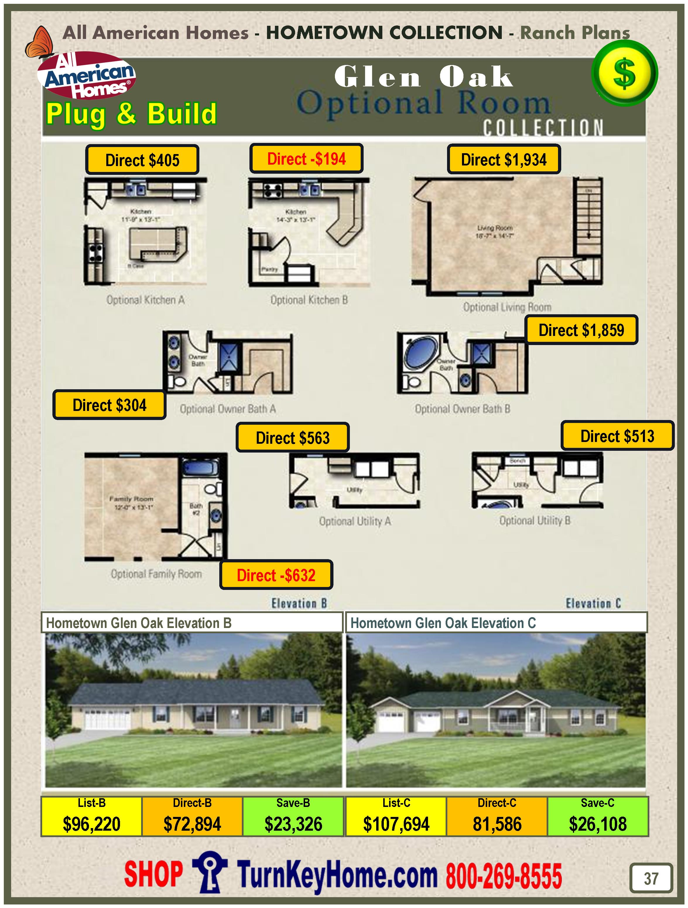 All American Homes glen oak all american home ranch hometown collection plan price