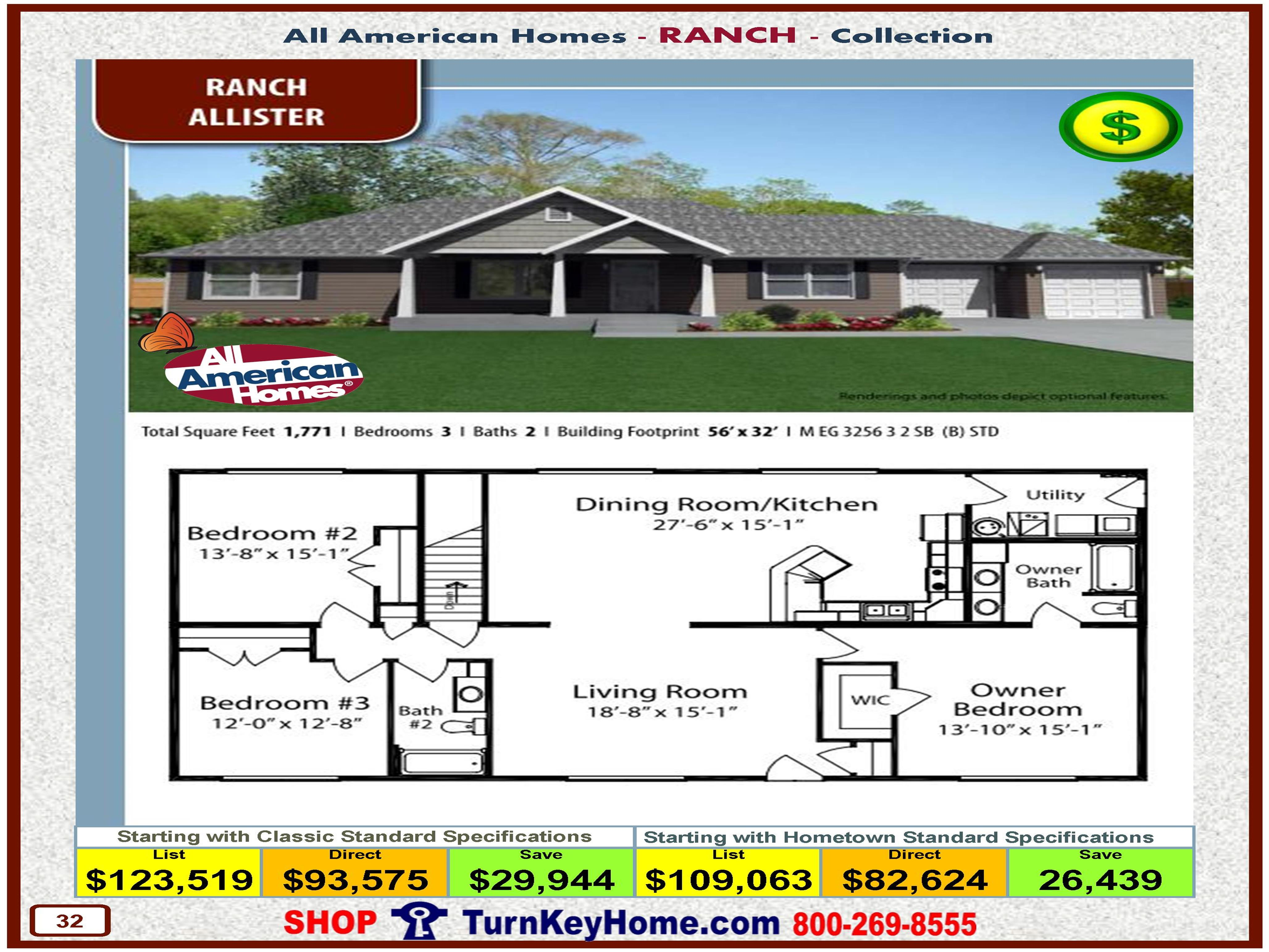 allister all american modular home ranch collection plan price