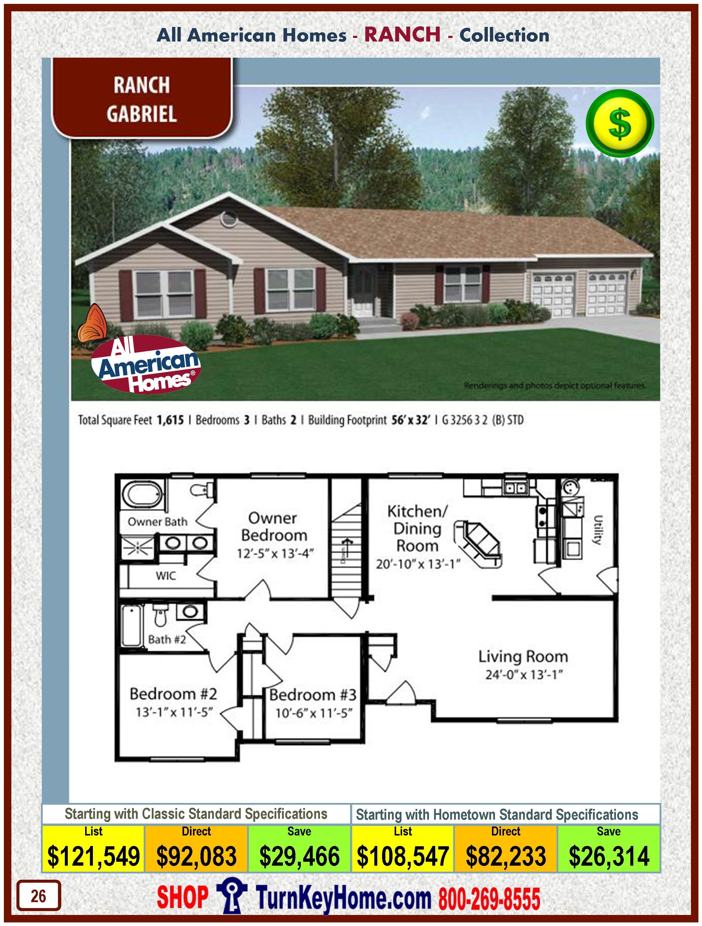 gabriel all american modular home ranch collection plan price