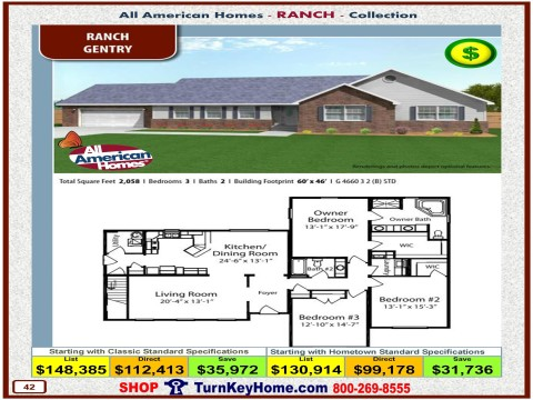 Modular.Home.All.American.Homes.Ranch.Collection.GENTRY.Plan.Price.Catalog.P42.1215.p