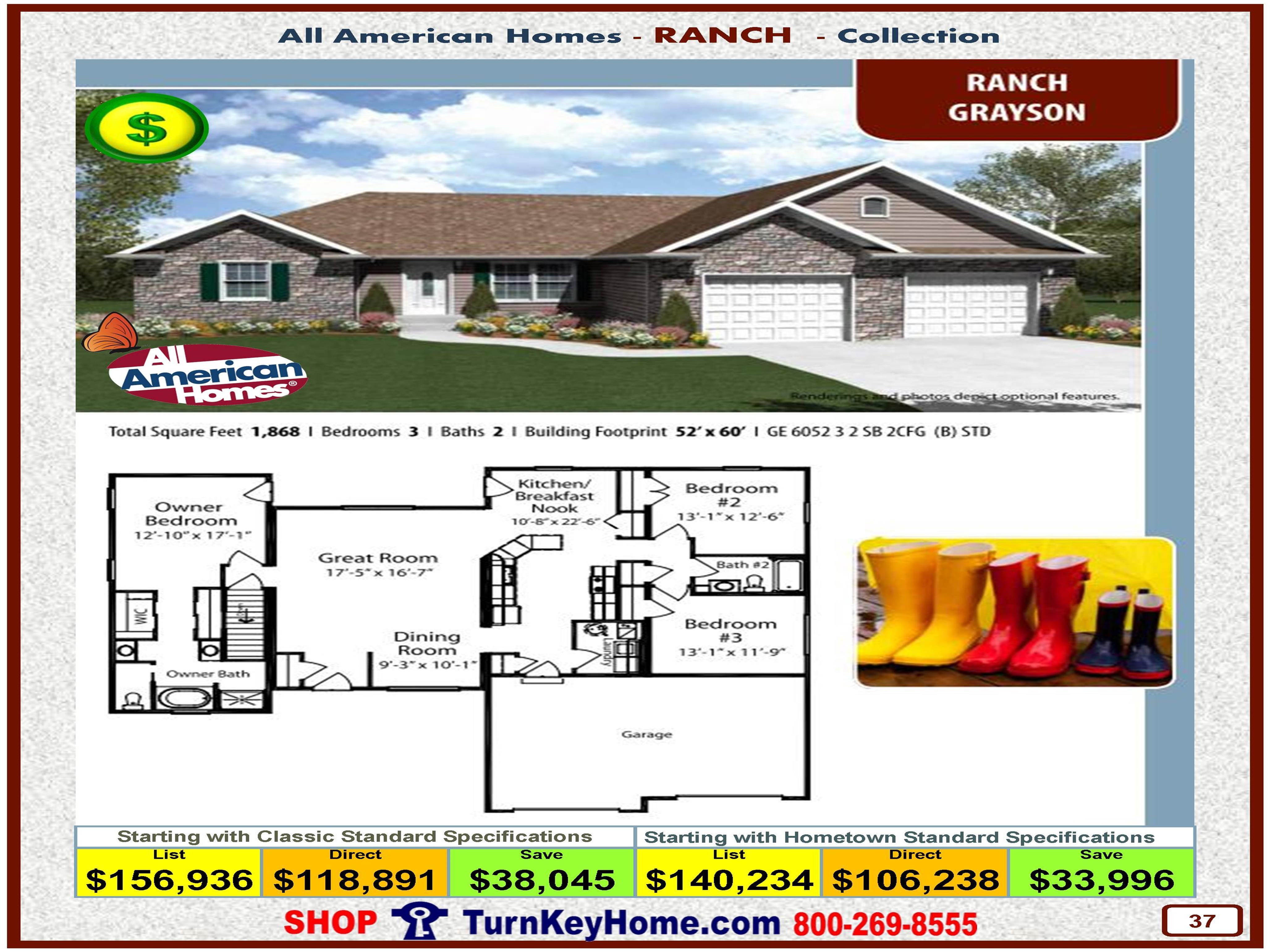 grayson all american modular home ranch collection plan price