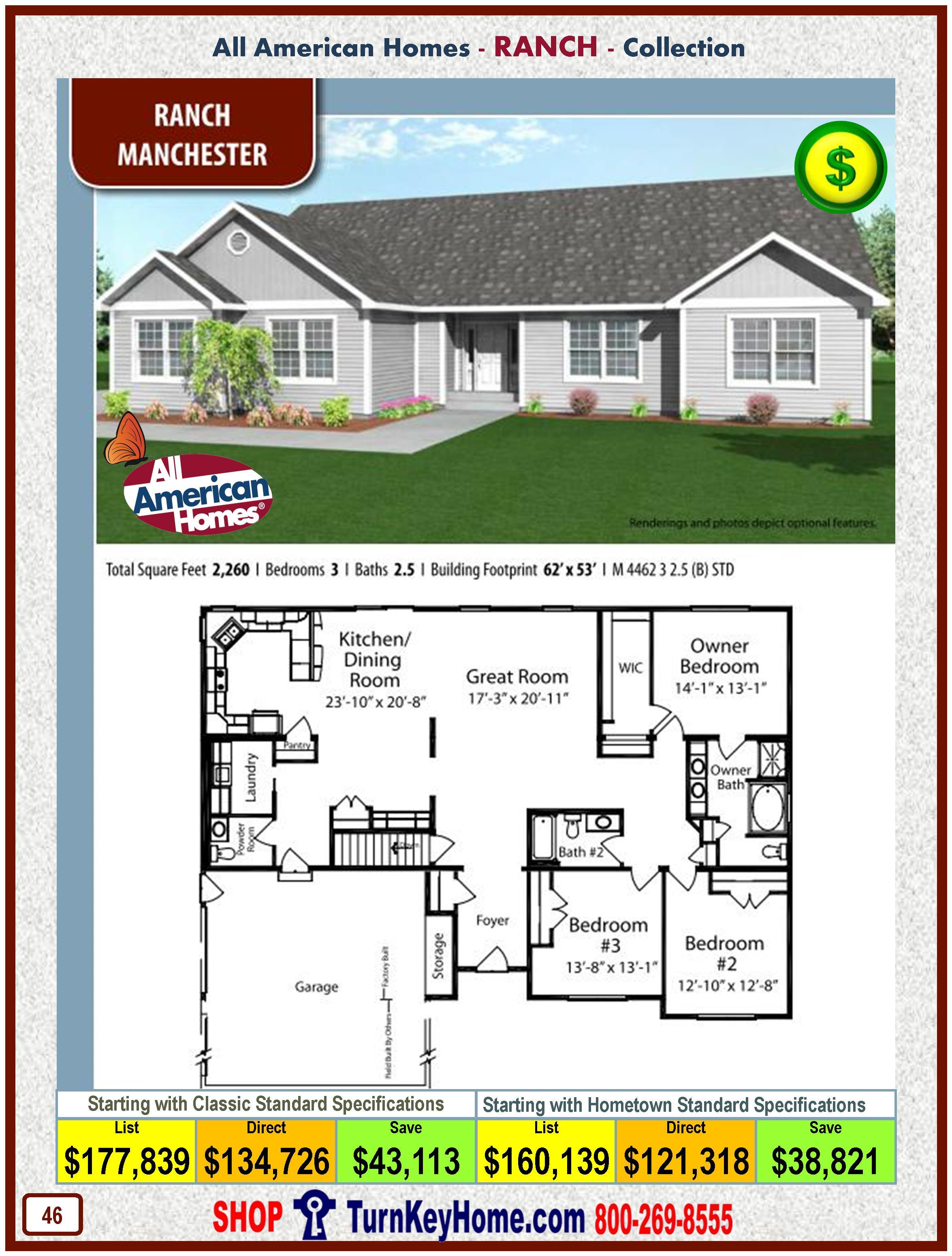 manchester all american modular home ranch collection modular home