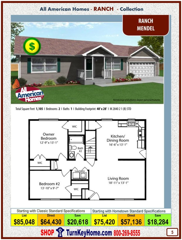 Modular.Home.All.American.Homes.Ranch.Collection.MENDEL.Plan.Price.Catalog.P5.1215