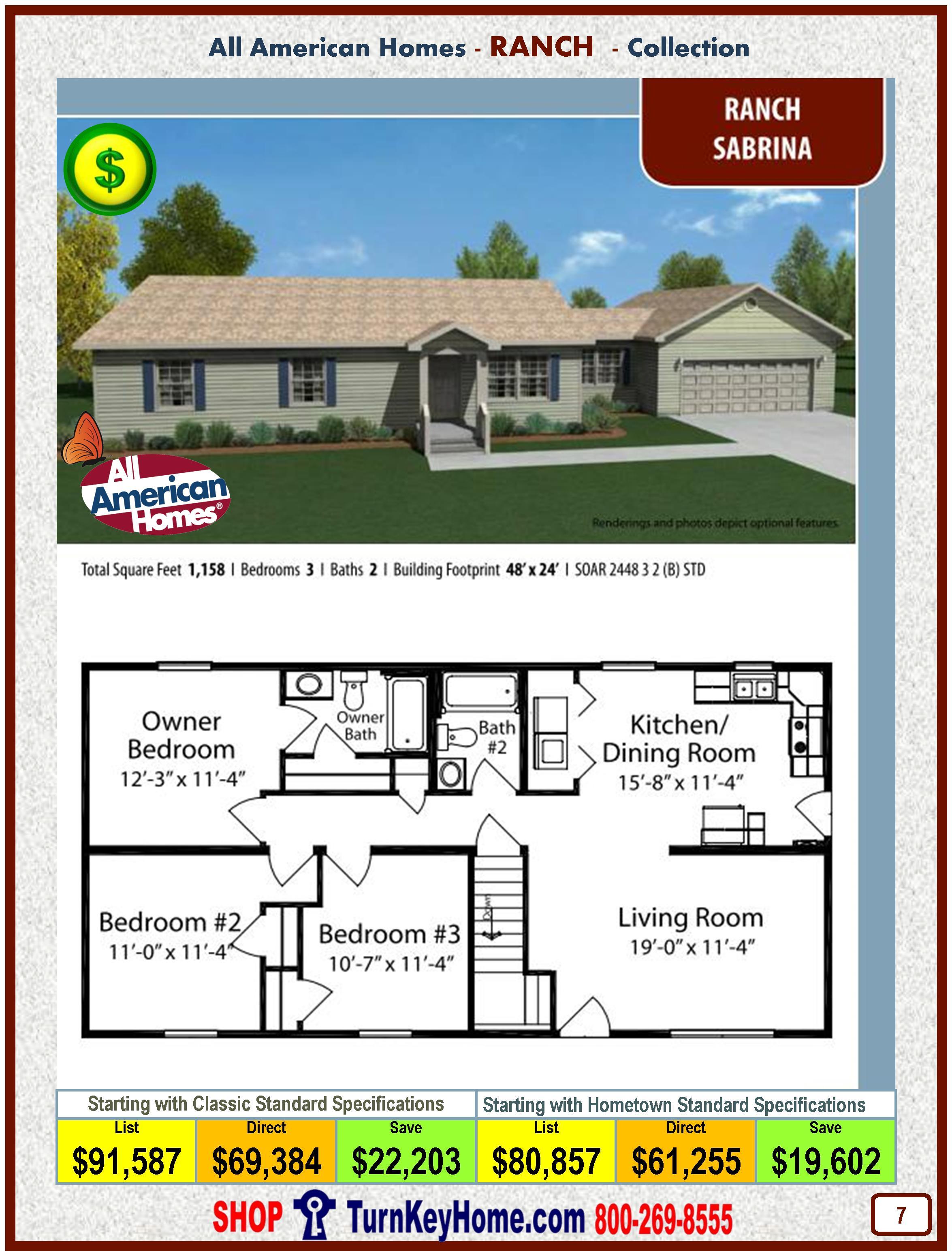 sabrina all american modular home ranch collection plan price