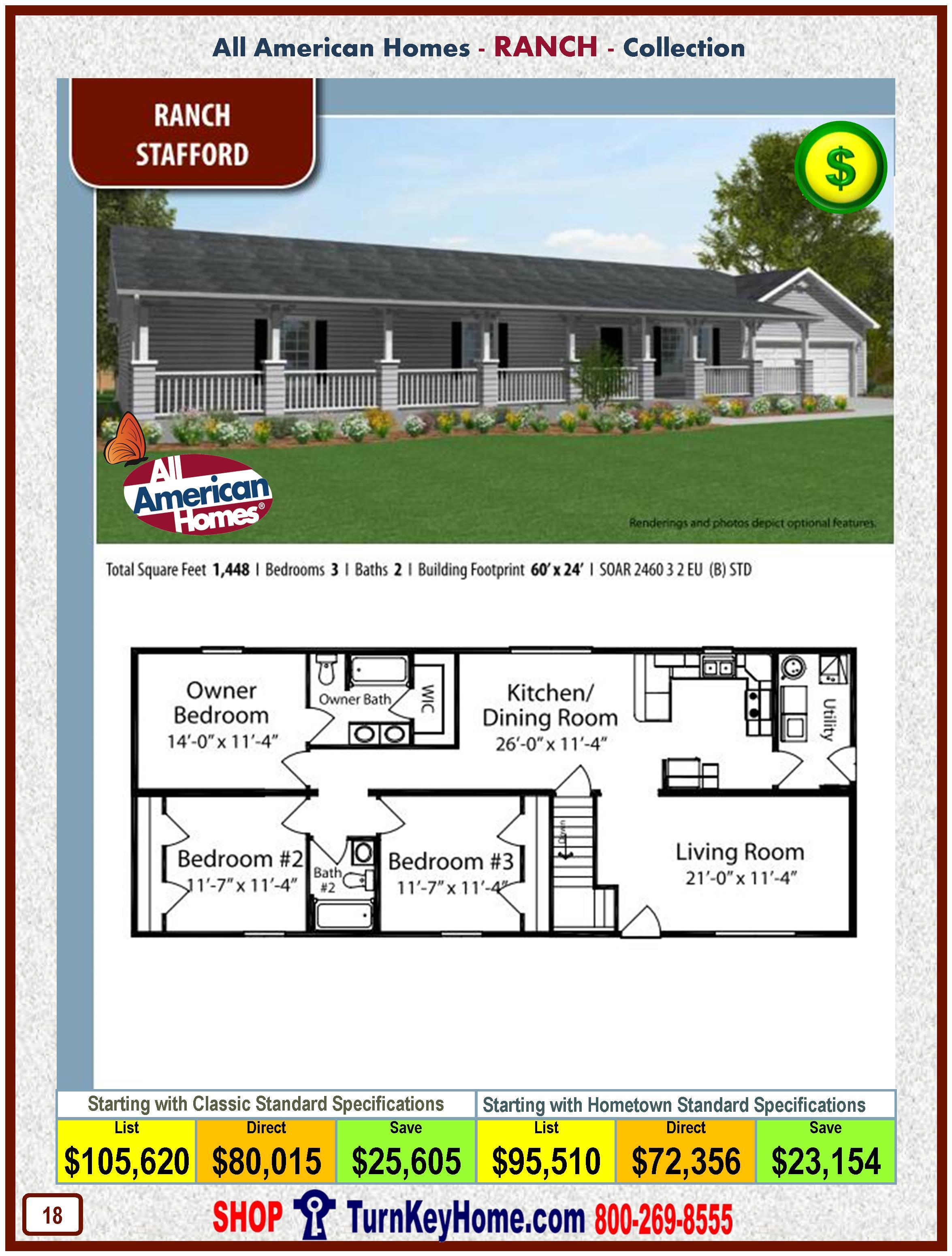 Price Modular Homes stafford all american modular home ranch collection plan price