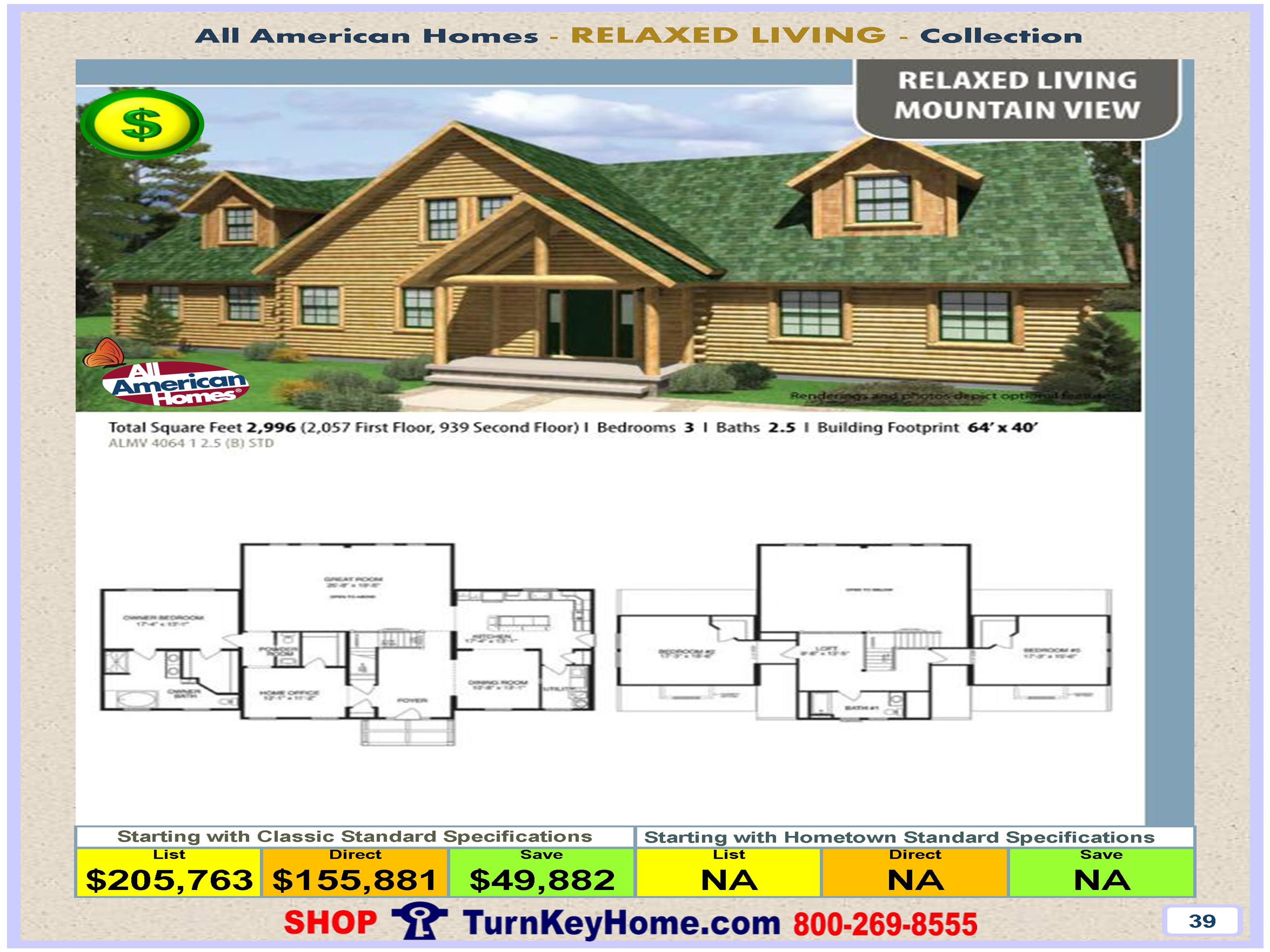 MOUNTAIN VIEW All American Modular Home Home Relaxed Living Collection Plan  Price