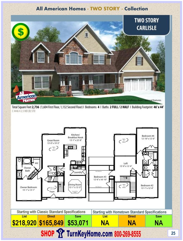 Carlisle All American Modular Home Two Story Collection