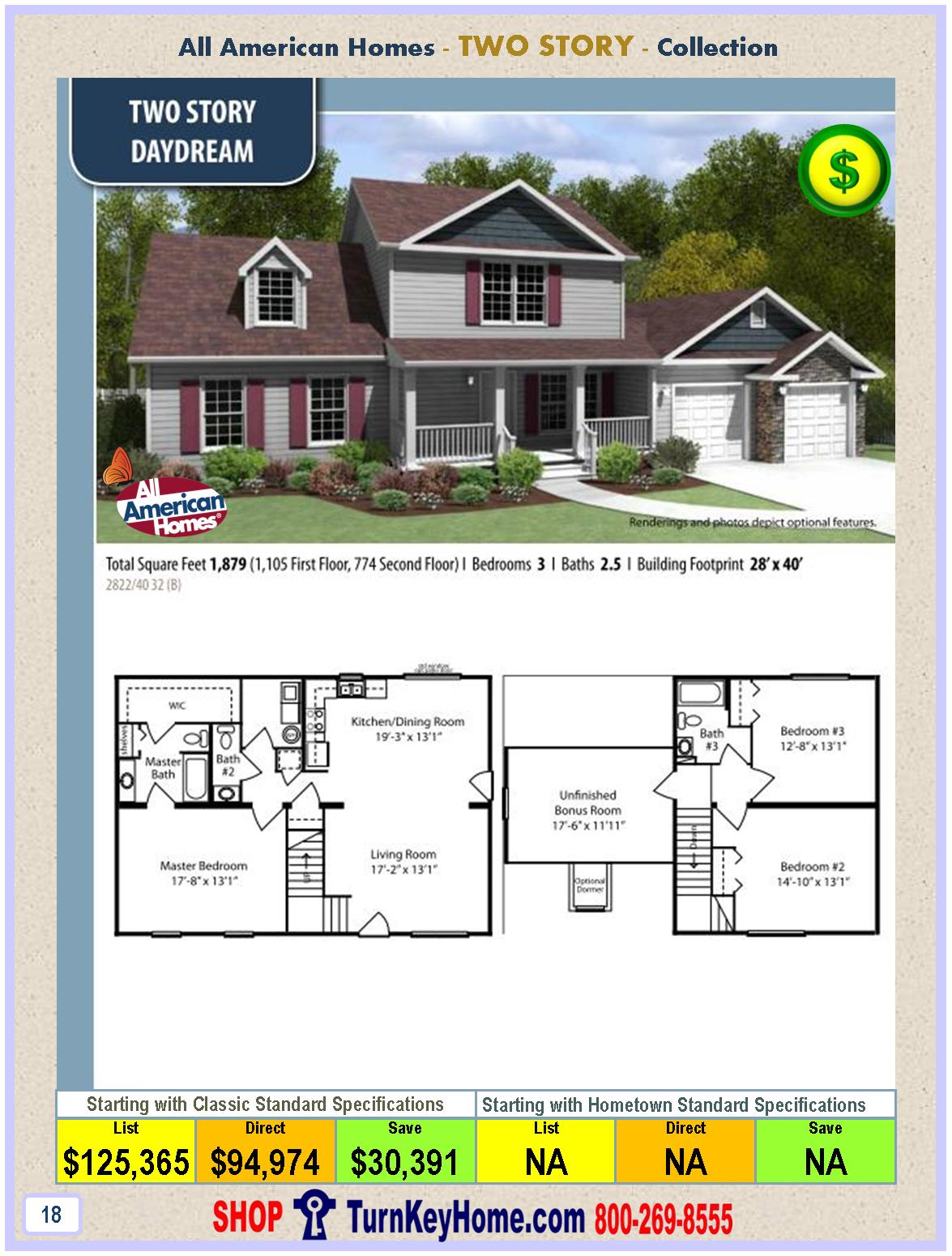 Daydream all american modular home two story collection for 2 story house price