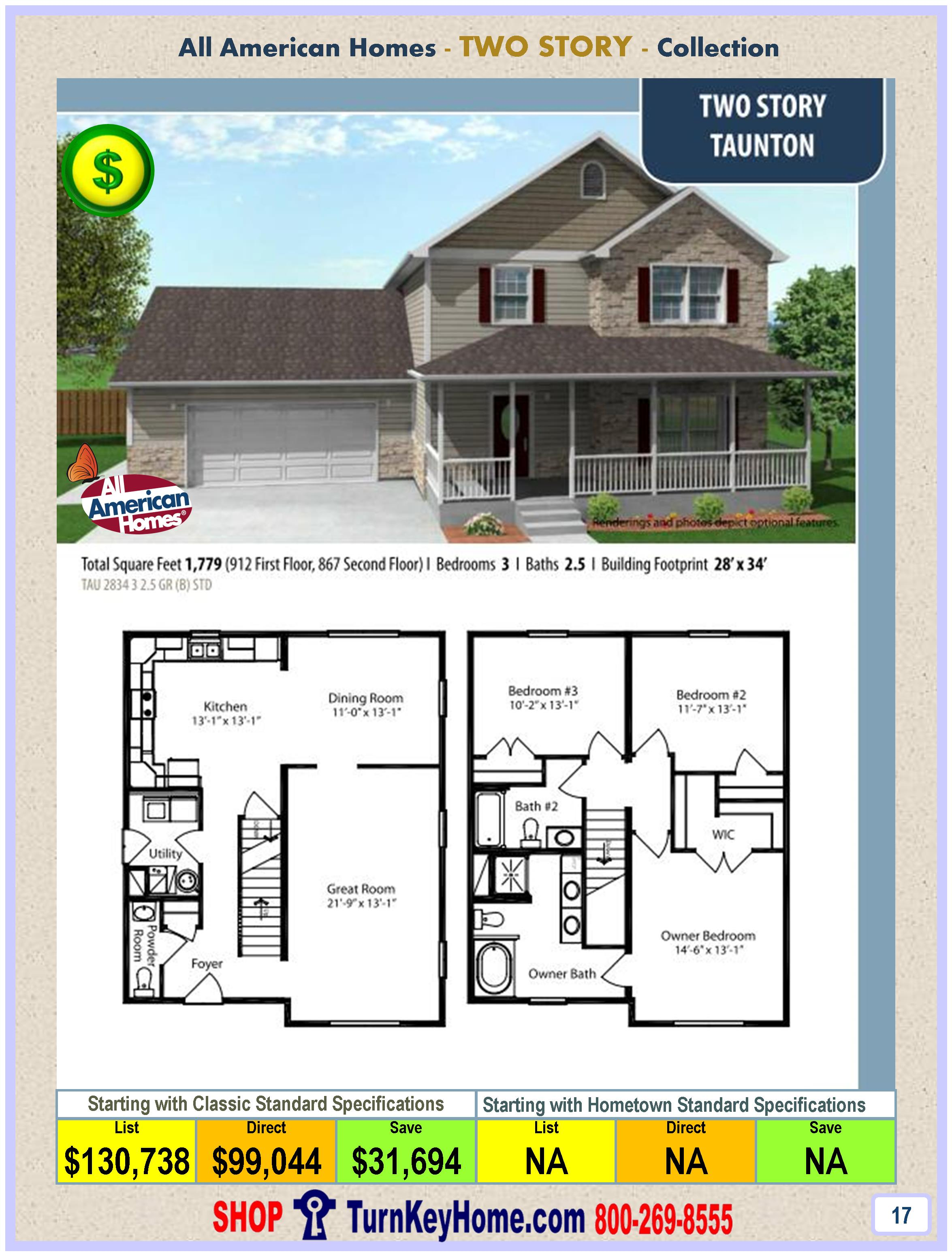Modular.Home.All.American.Homes.Two.Story.TAUNTON.Plan.Price.P17.1115