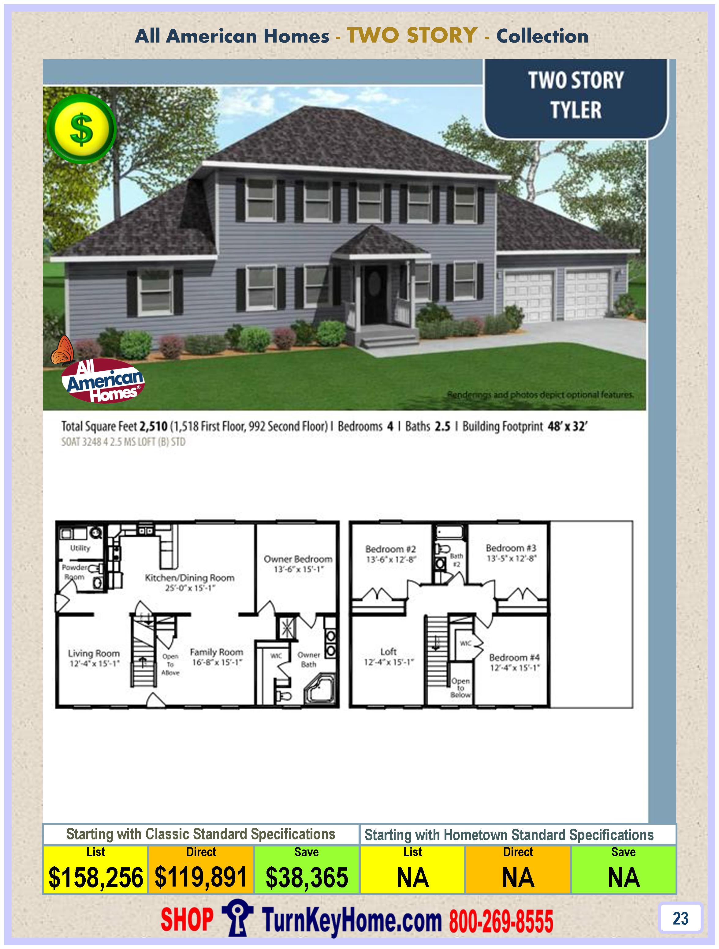 Modular.Home.All.American.Homes.Two.Story.TYLER.Plan.Price.P23.1115