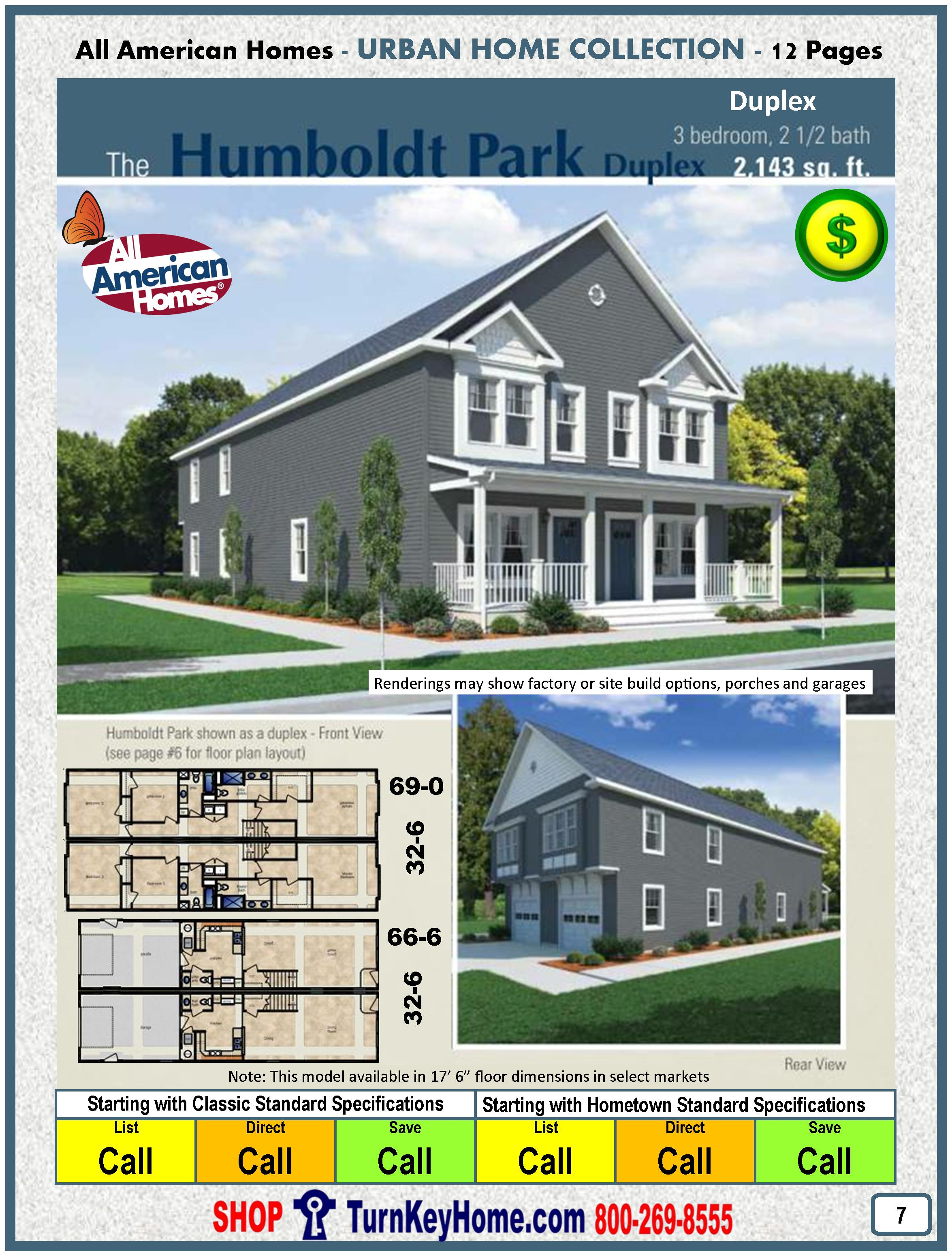 Modular Home All American Homes Urban HUMBOLDT PARK DUPLEX Plan Price MORE HERE