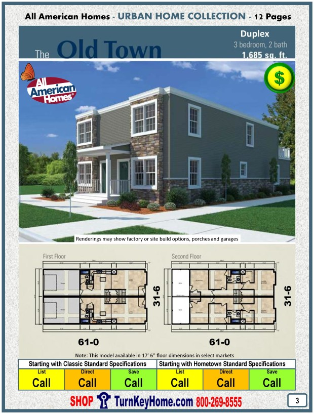 Old town duplex all american modular home urban collection Modular duplex house plans