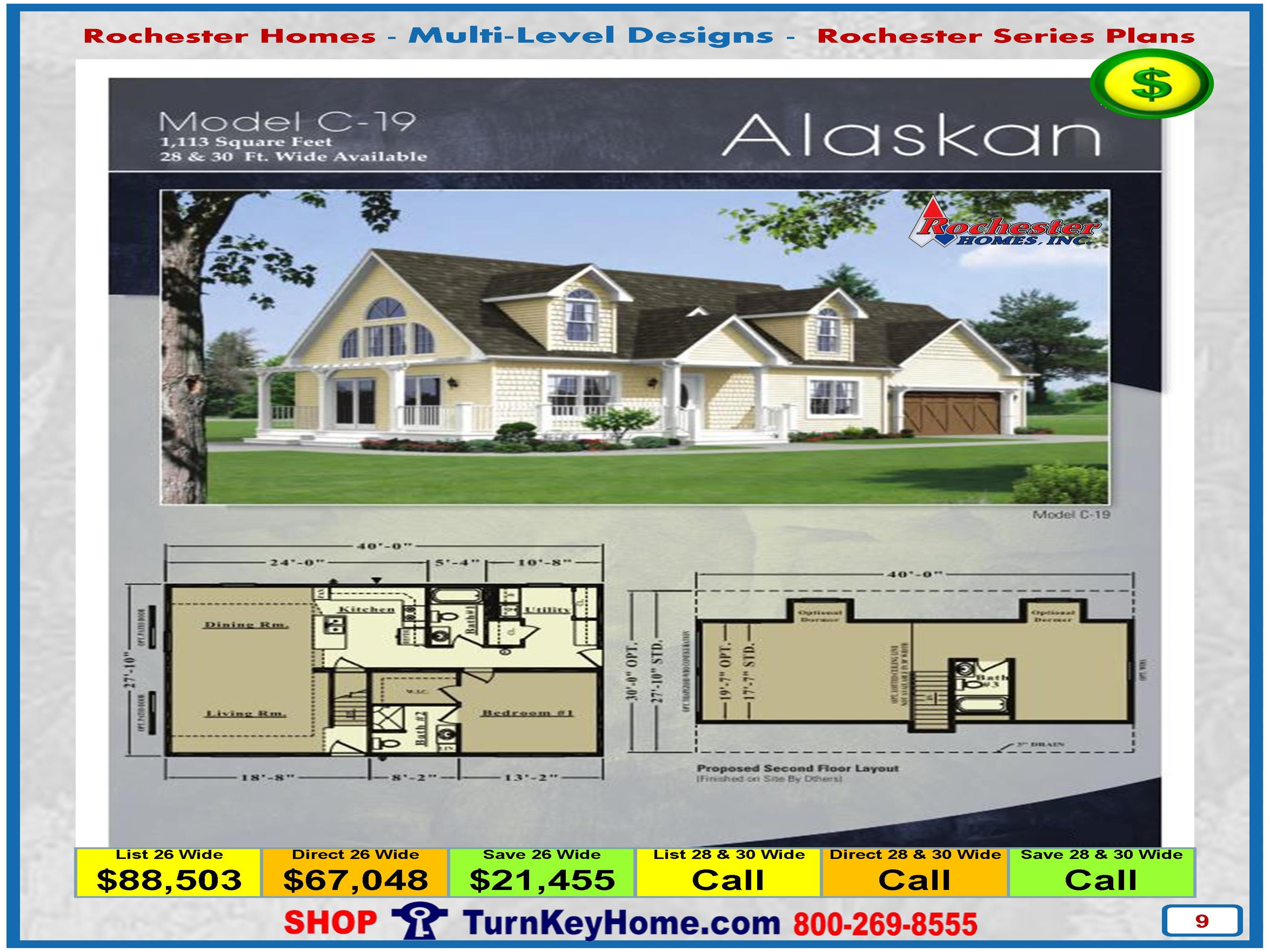 alaskan rochester modular home cape cod multi level plan price