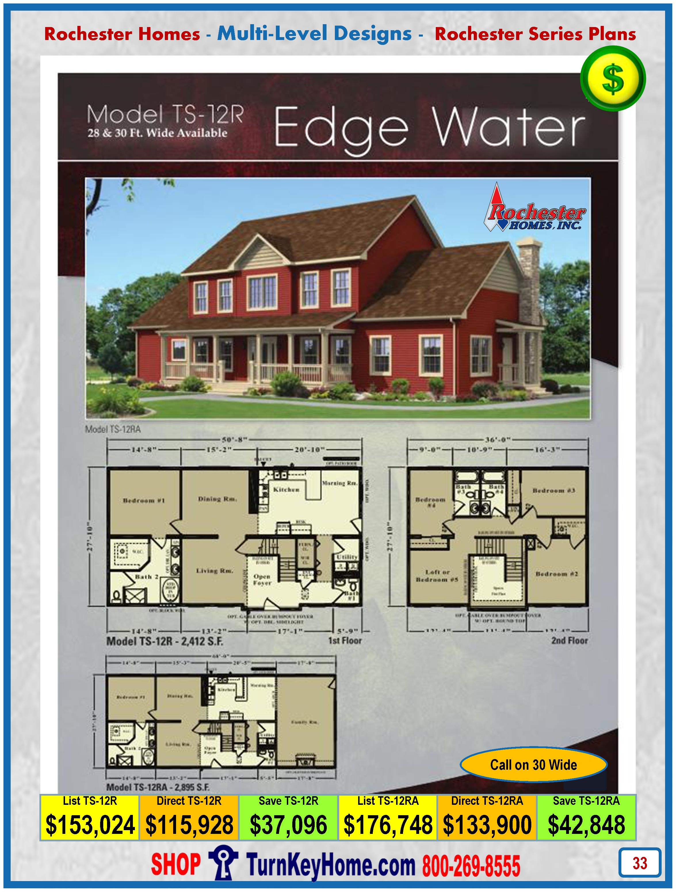 modular home designs and prices. Modular Home Rochester Homes Two Story Edgewater TS12R  EDGE WATER Plan Price