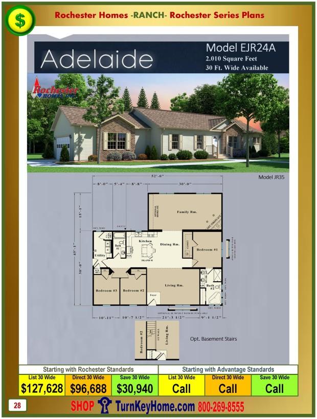 adelaide rochester modular home ranch plan price