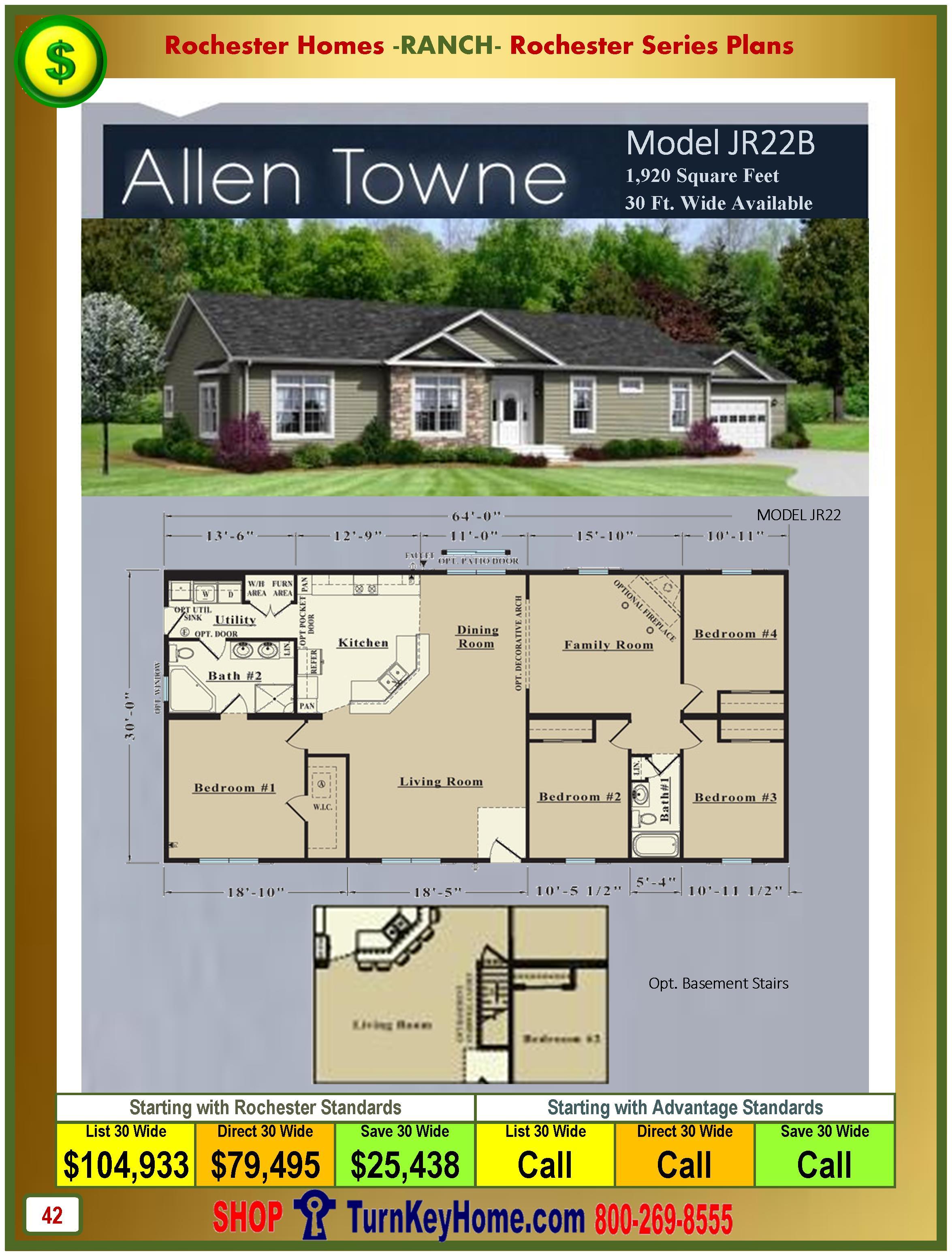 Modular.Homes.Rochester.Home.Inc.Allen.Towne.JR22B.Ranch.Plan.Price.Catalog.P42.1215