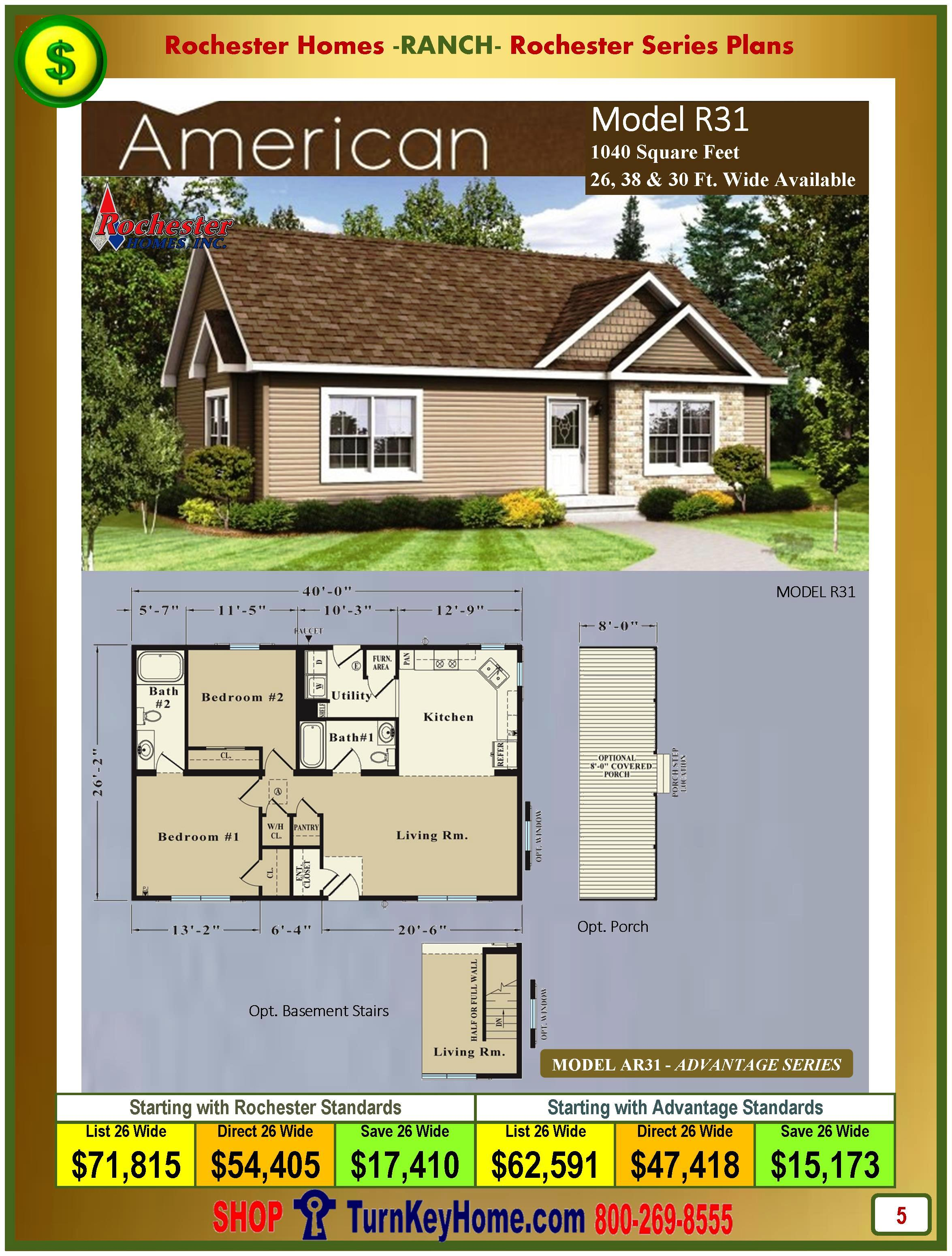 american rochester modular home ranch model r31 plan price
