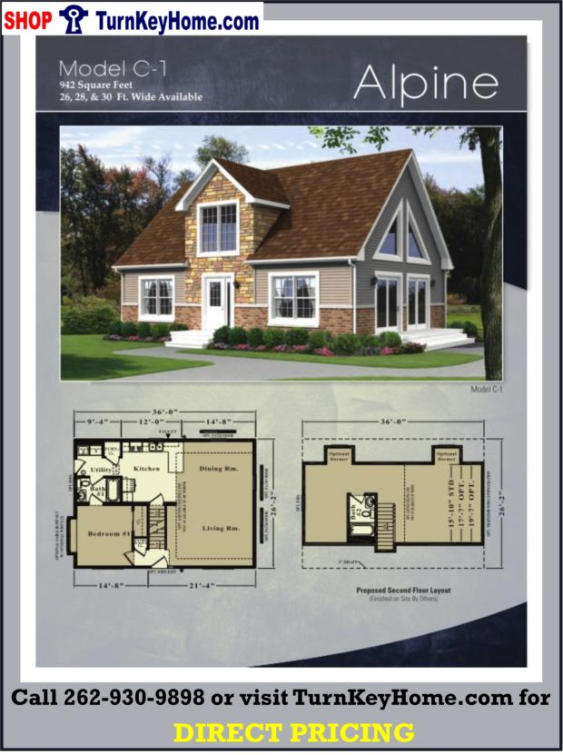 Alpine cape cod style home 1 bed 1 bath plan 942 sf priced for Direct from the designers house plans