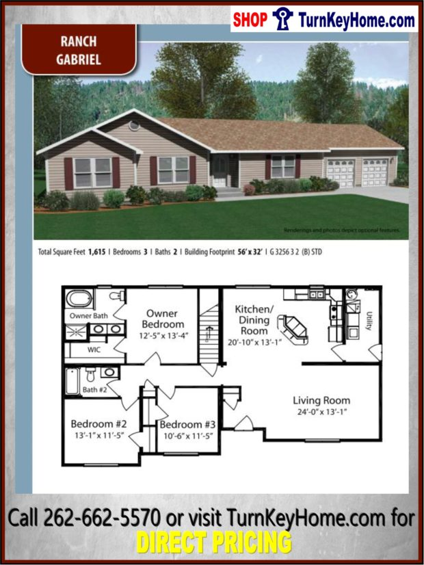 GABRIEL Ranch Home 3 Bed 2 Bath Plan 1615 SF Priced from ... on