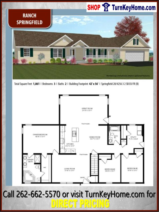 SPRINGFIELD Ranch Home 3 Bed 2 Bath Plan 1861 SF Priced from ... on single family home floor plans, ranch townhome floor plans, ranch duplex floor plans, schult modular homes floor plans, ranch house plans, 2 bedroom ranch floor plans, clayton mobile homes floor plans, open floor plans, ranch home plans with attached garage, ranch patio home floor plans, ranch log cabin homes, ranch homes 3bed floor plans, simple ranch floor plans, modular log home plans, h ranch floor plans, 4 bedroom modular home plans, l-shaped ranch floor plans, 2 bedroom modular homes floor plans, ranch manufactured home, ranch home with reverse gable roof,