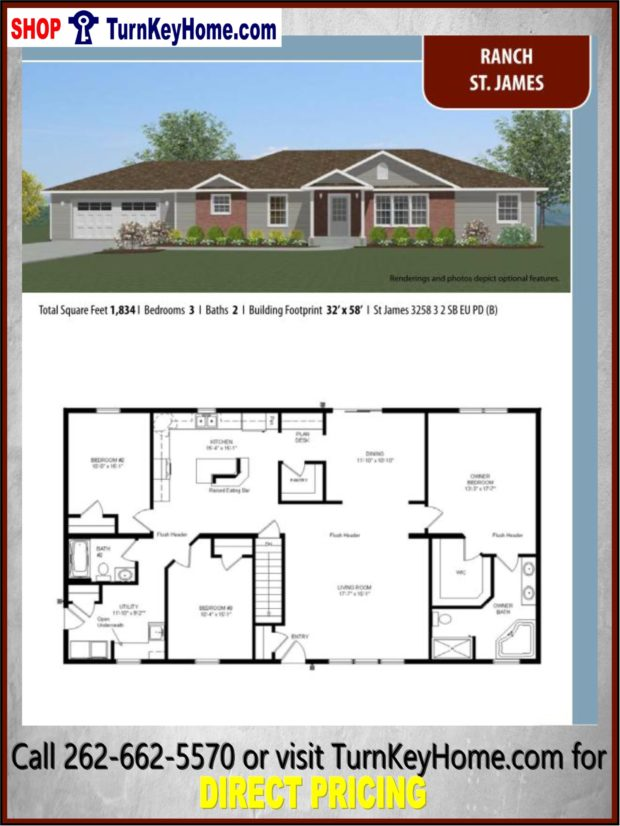 ST. JAMES Ranch Home 3 Bed 2 Bath Plan 1834 SF Priced from ... on
