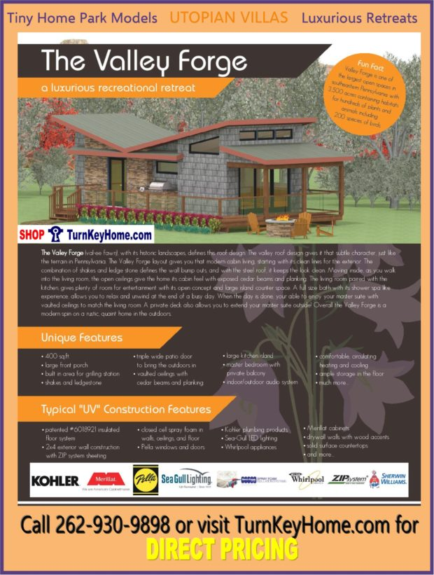 Modular Tiny Home Park Model Utopian Villas VALLEY FORGE Plan Price – Forge Wood Site Plan