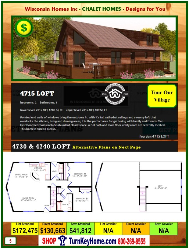 4715 LOFT E2 Wisconsin Homes Inc Modular Chalet Home Plan Price