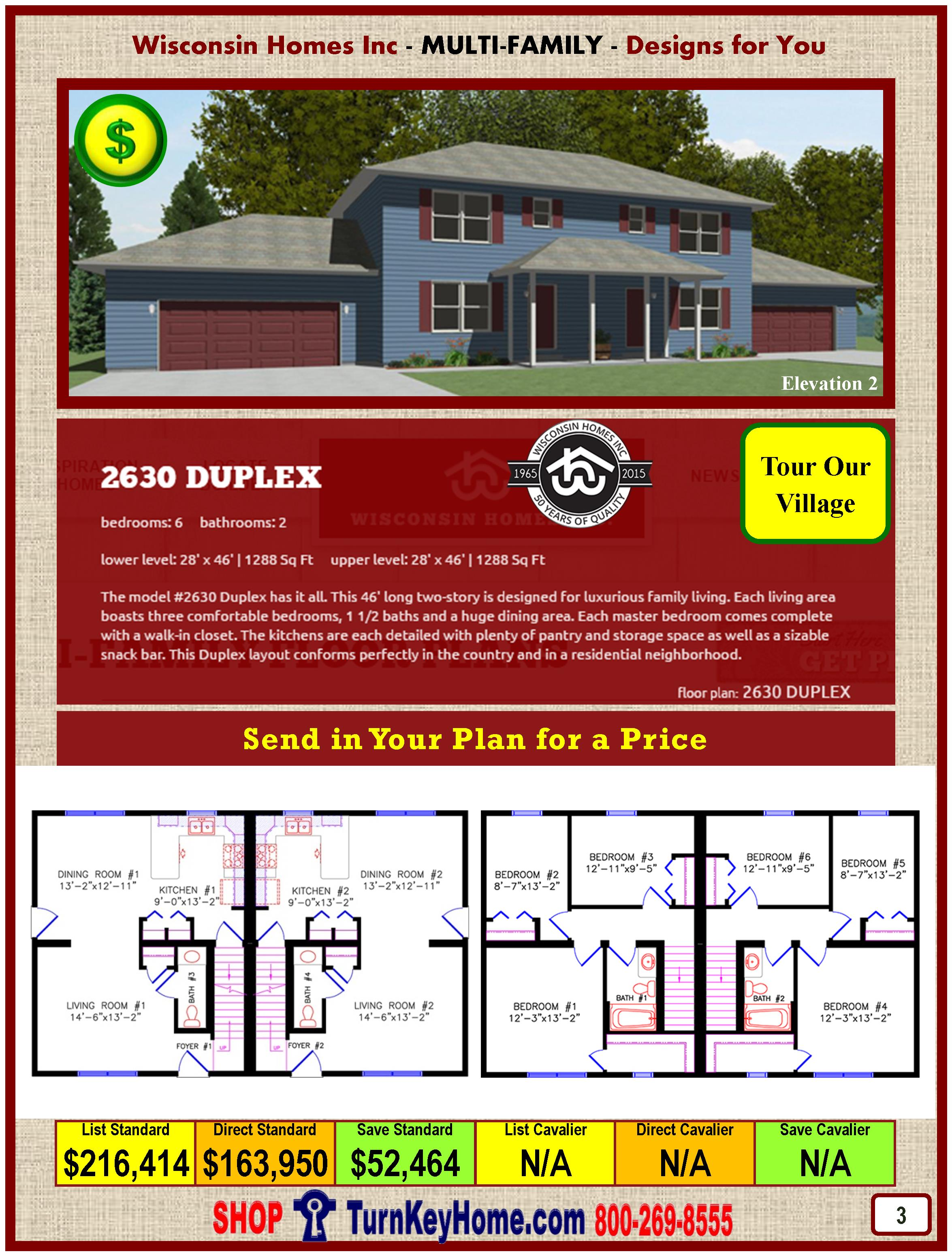 Duplex 2630 Elevation 2 Plan and Price: Wisconsin Homes Inc Modular Home Marshfield Wisconsin