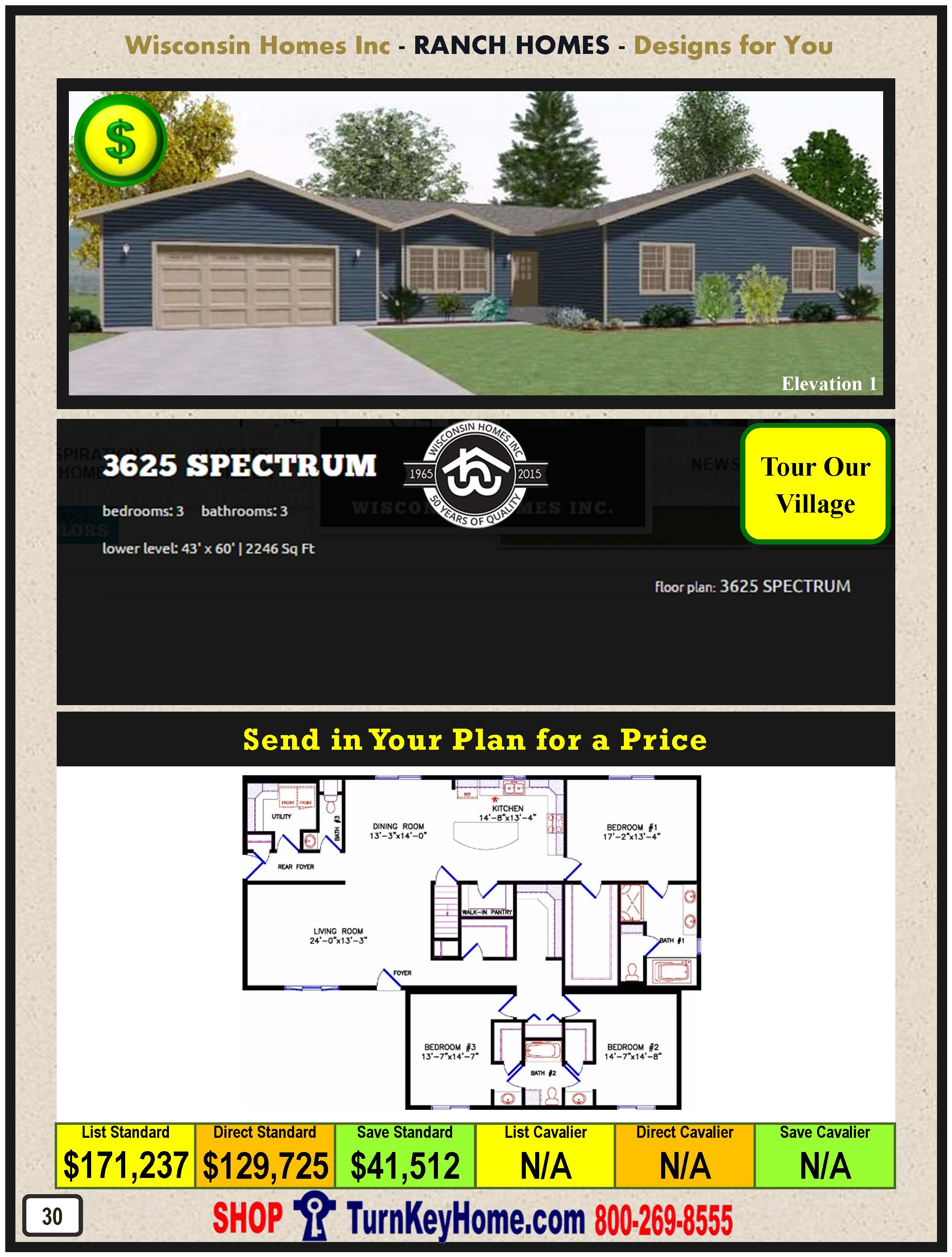 3625 spectrum e1 wisconsin homes inc modular ranch home Spectrum house plans