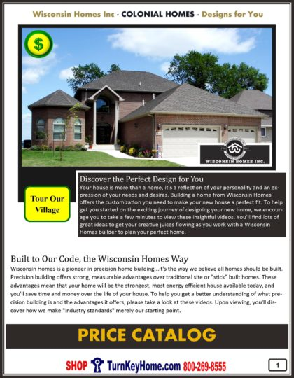 Colonial Modular Home Prices FROM Wisconsin Homes Inc Colonial, Two Story and Salt Box Home Planes
