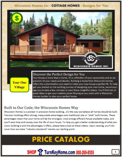 Cottage Modular Home Prices FROM Wisconsin Homes Inc Cottage and Cabin Plans