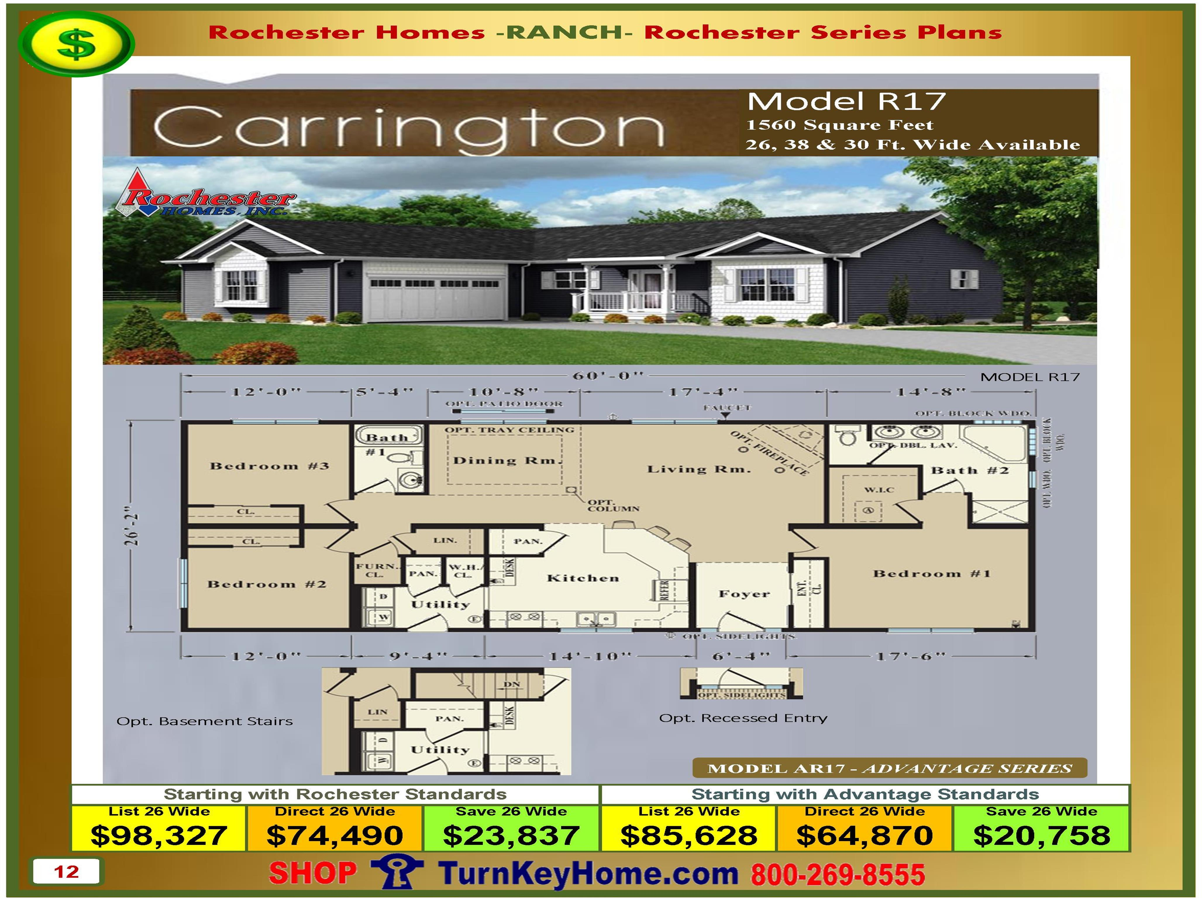 Mobile Home Plans And Prices carrington rochester modular home ranch model r17 plan price