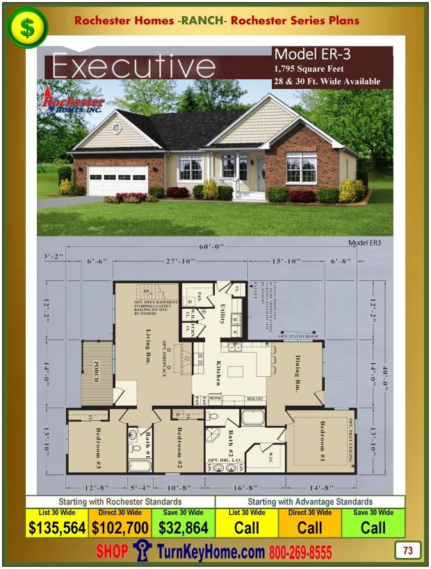Executive Rochester Modular Home Model Er 3 Ranch Plan Price