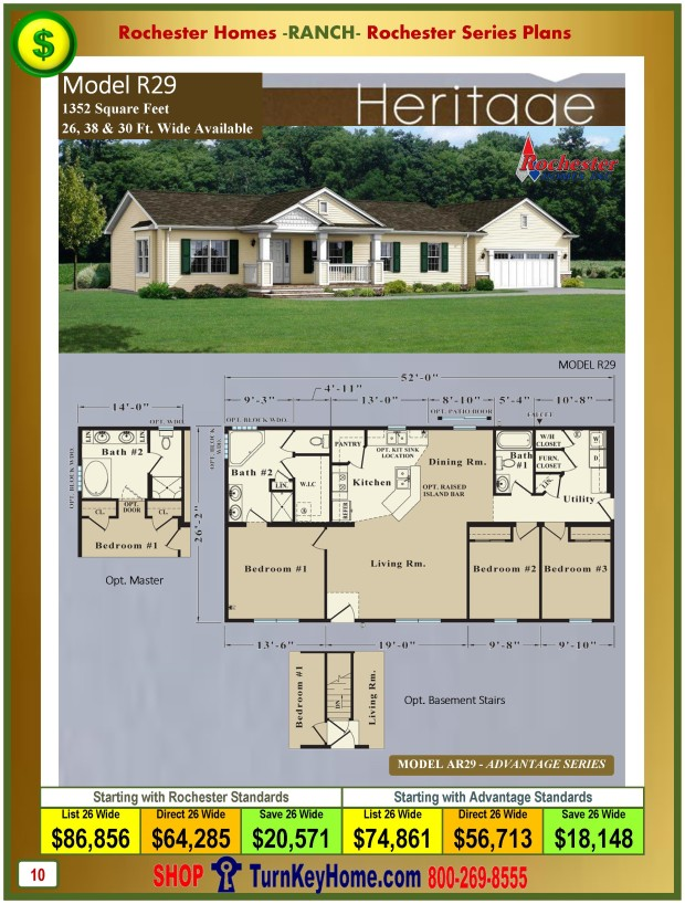 Heritage rochester modular home model r29 ranch plan price Home models and prices
