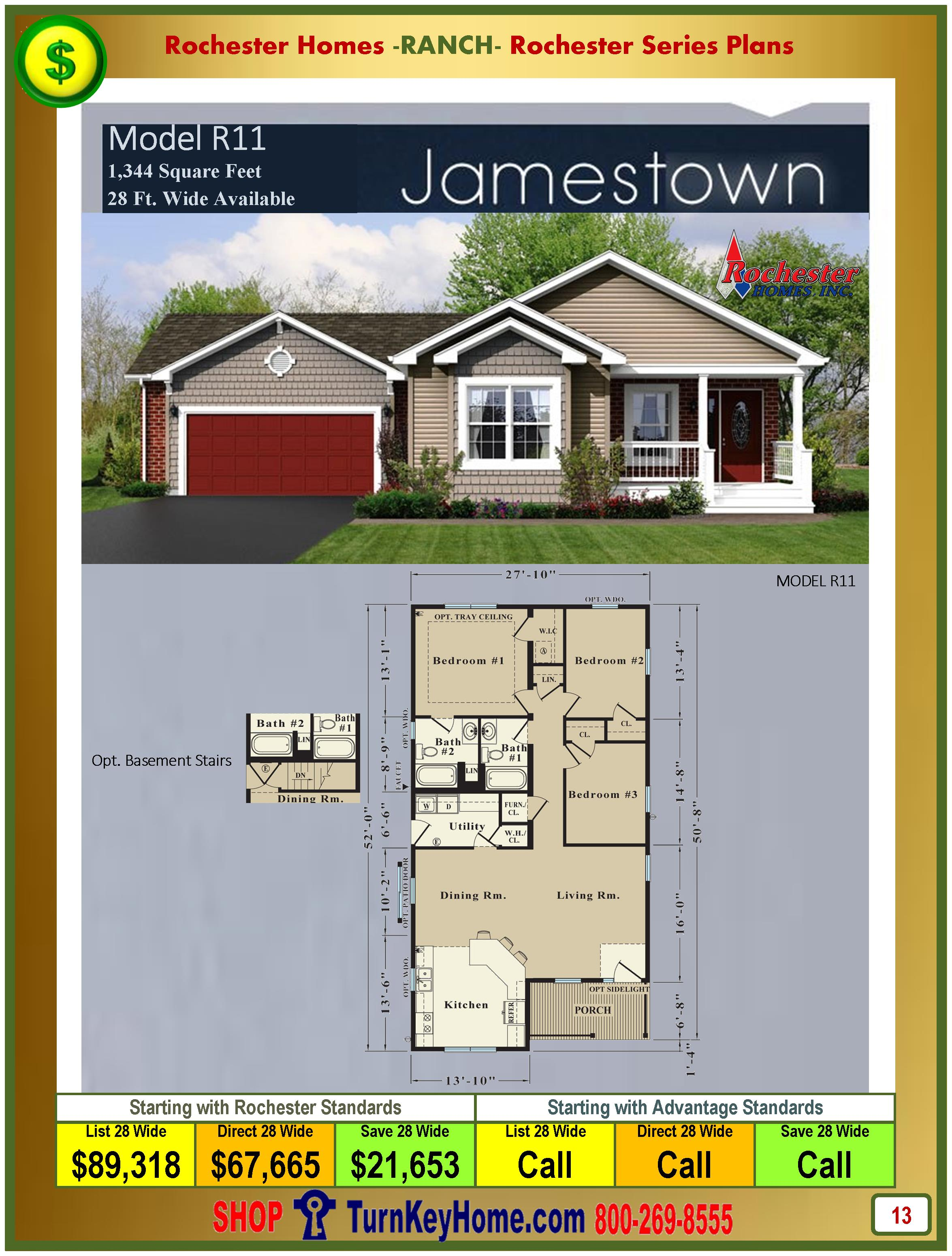 jamestown rochester modular home model r11 ranch plan price