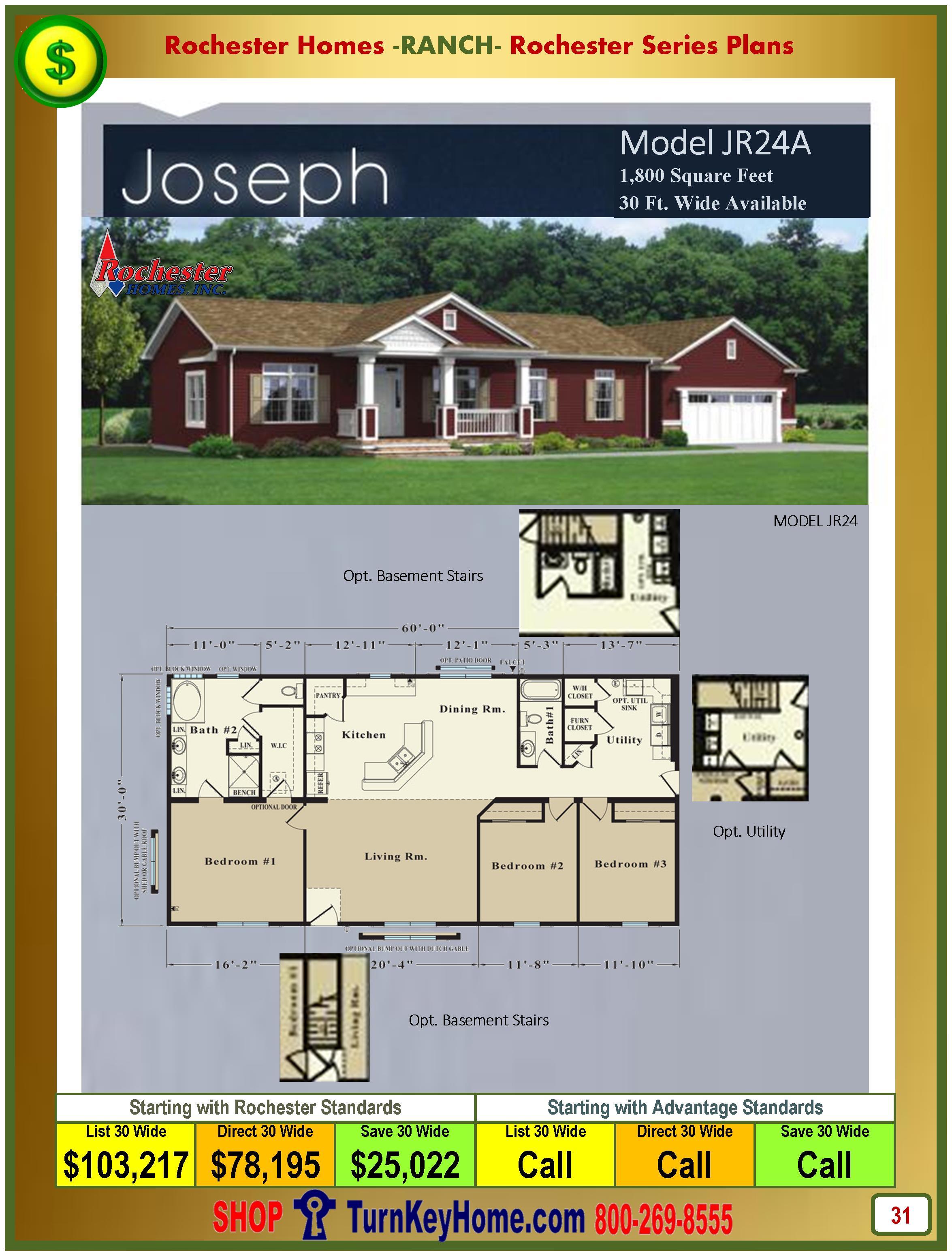 Modular.Homes.Rochester.Home.Inc.Joseph.JR24A.Ranch.Plan.Price.Catalog.P31.1215