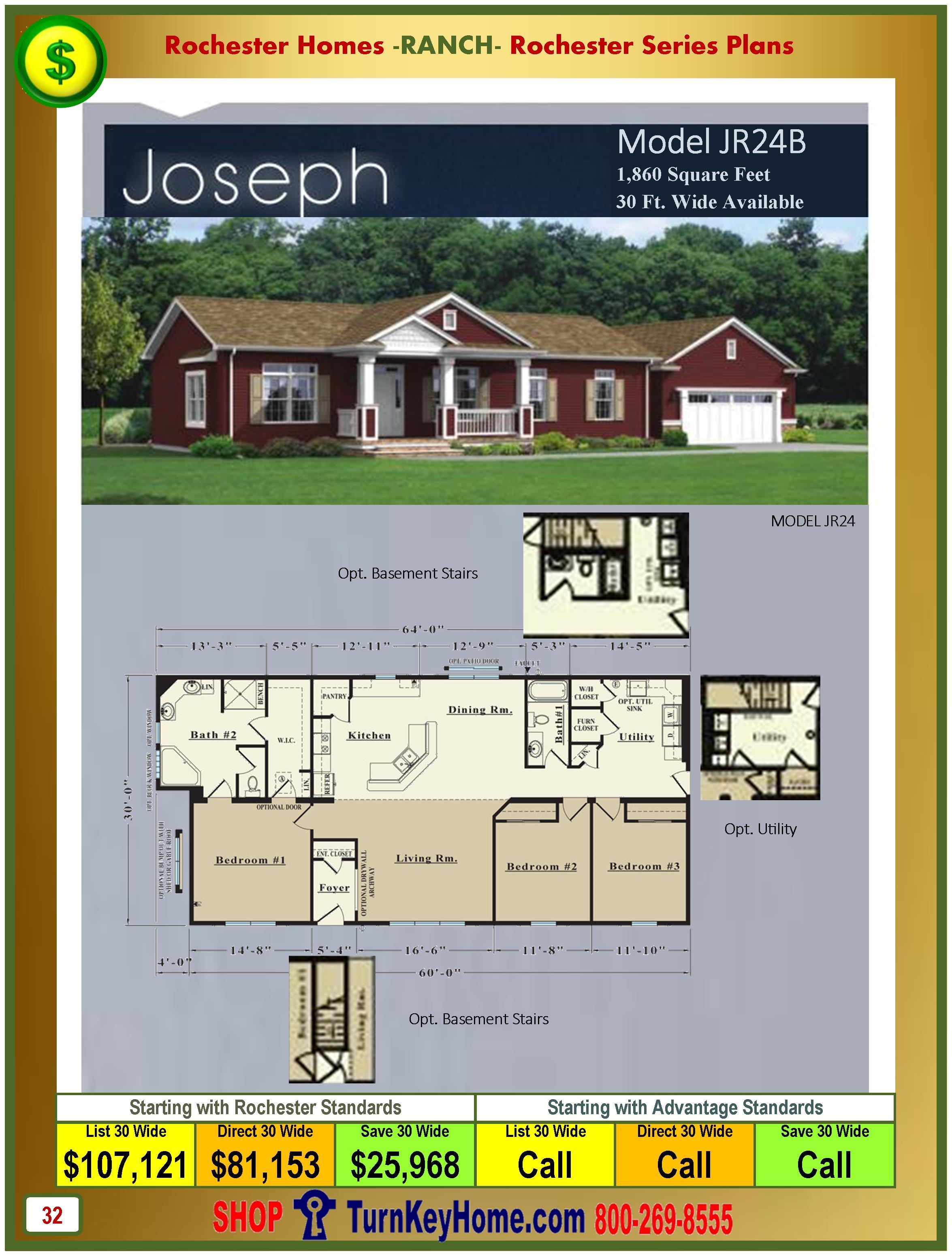 Modular Homes Rochester Home Inc Joseph JR24B Ranch. Ranch Home Plan and Price Catalog  Rochester Homes Indiana Modular