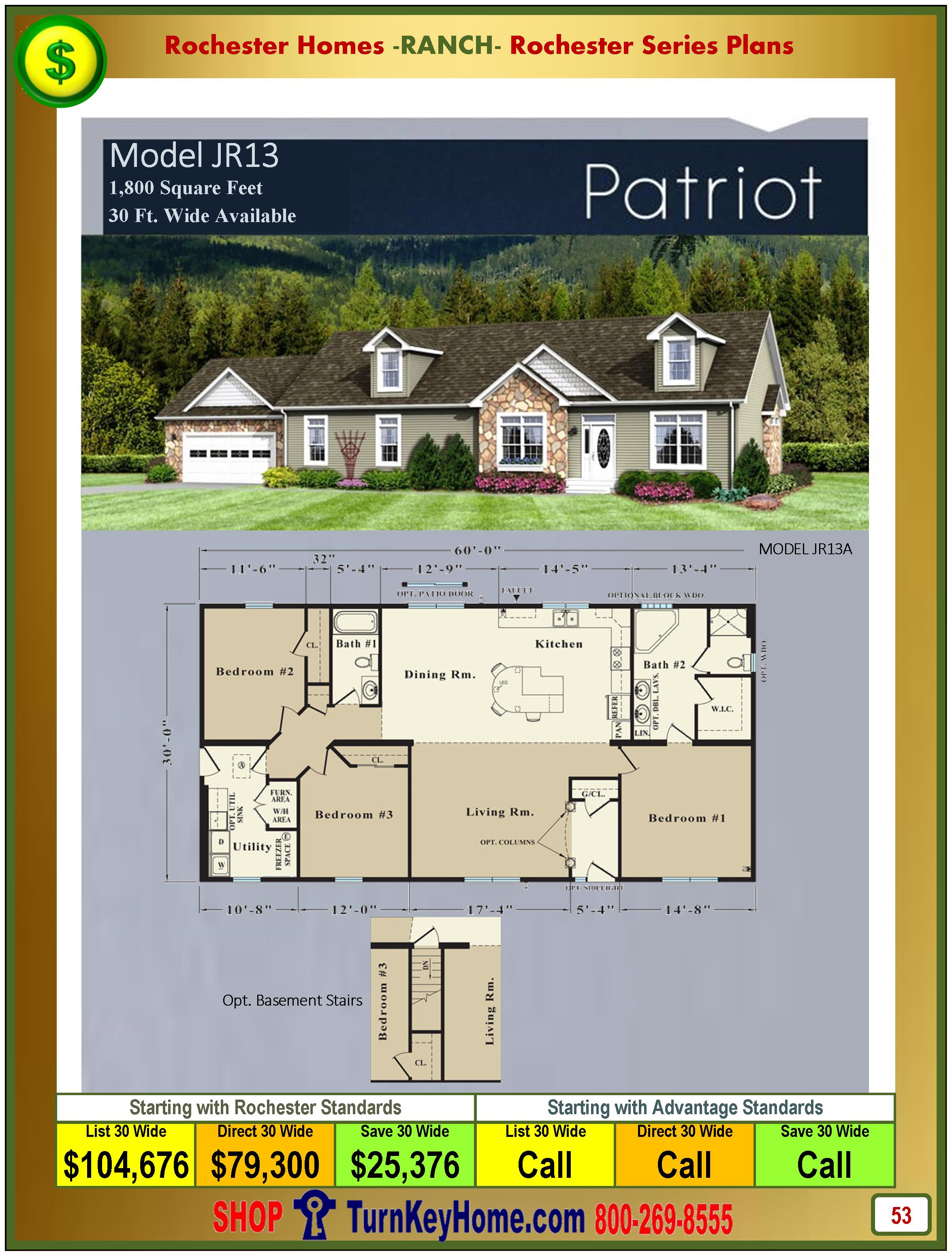 Modular.Homes.Rochester.Home.Inc.Patriot.JR13.Ranch.Plan.Price.Catalog.P53.1215