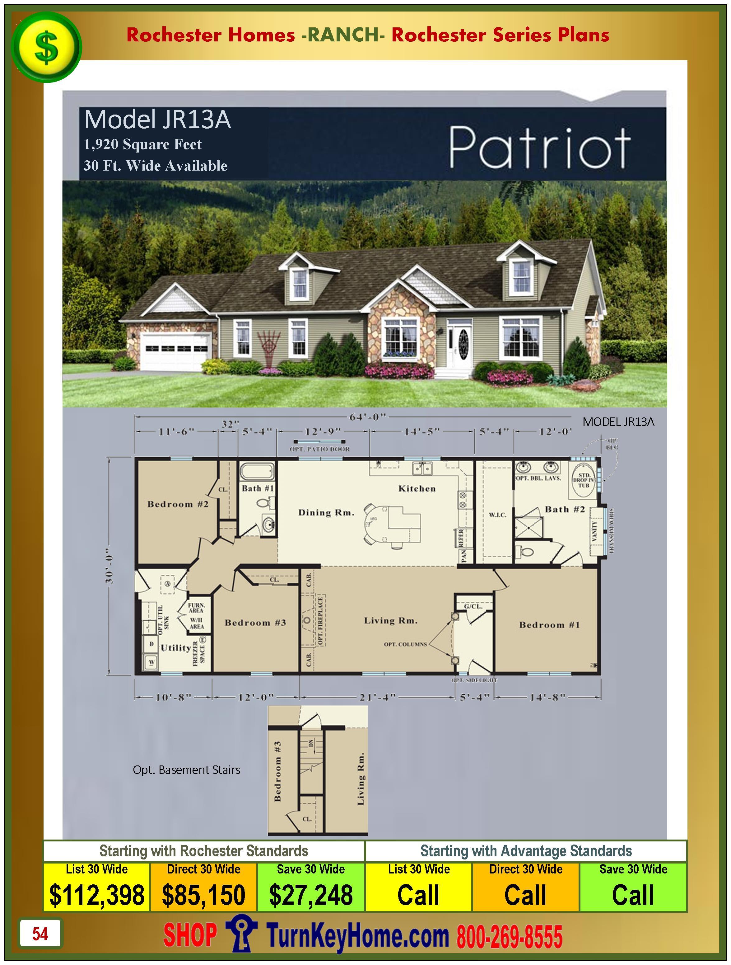 Modular.Homes.Rochester.Home.Inc.Patriot.JR13A.Ranch.Plan.Price.Catalog.P54.1215