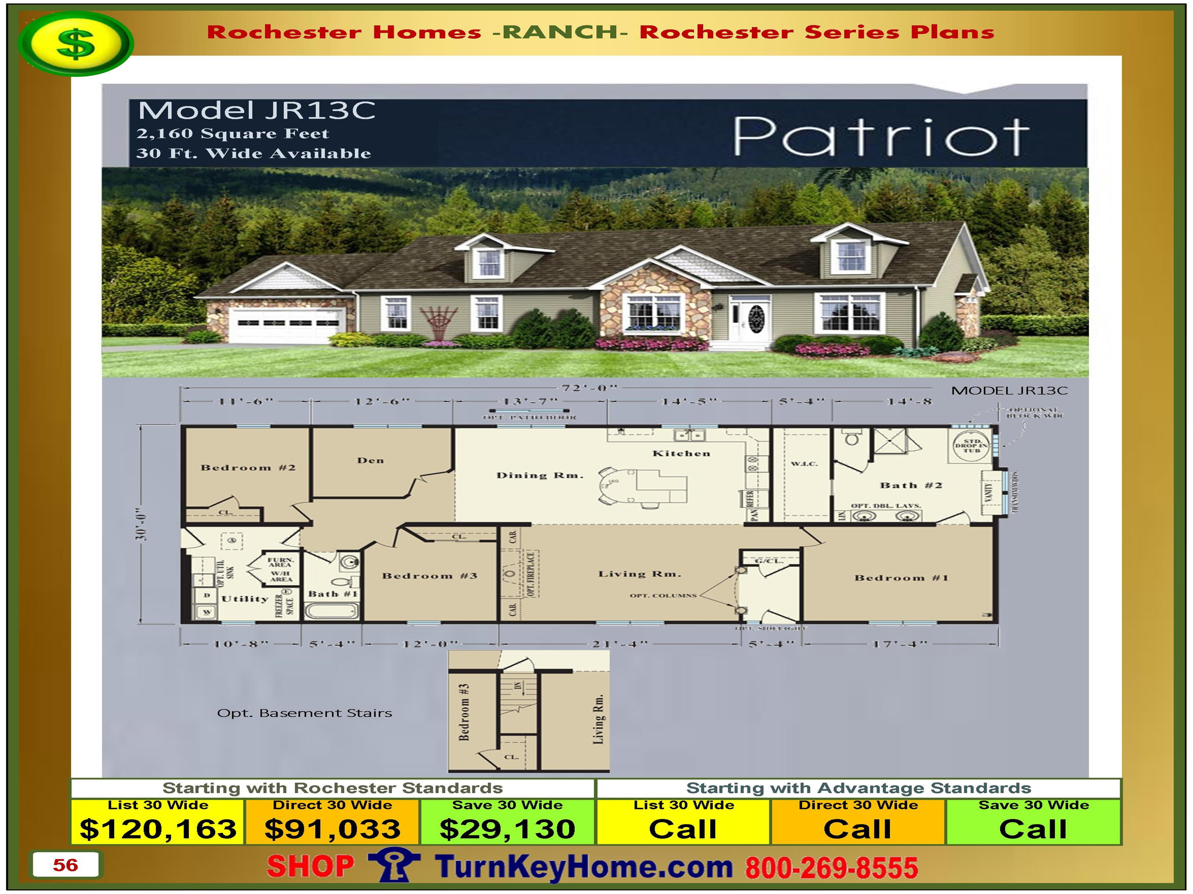 Price Of Manufactured Homes patriot rochester modular home model jr13c ranch plan price