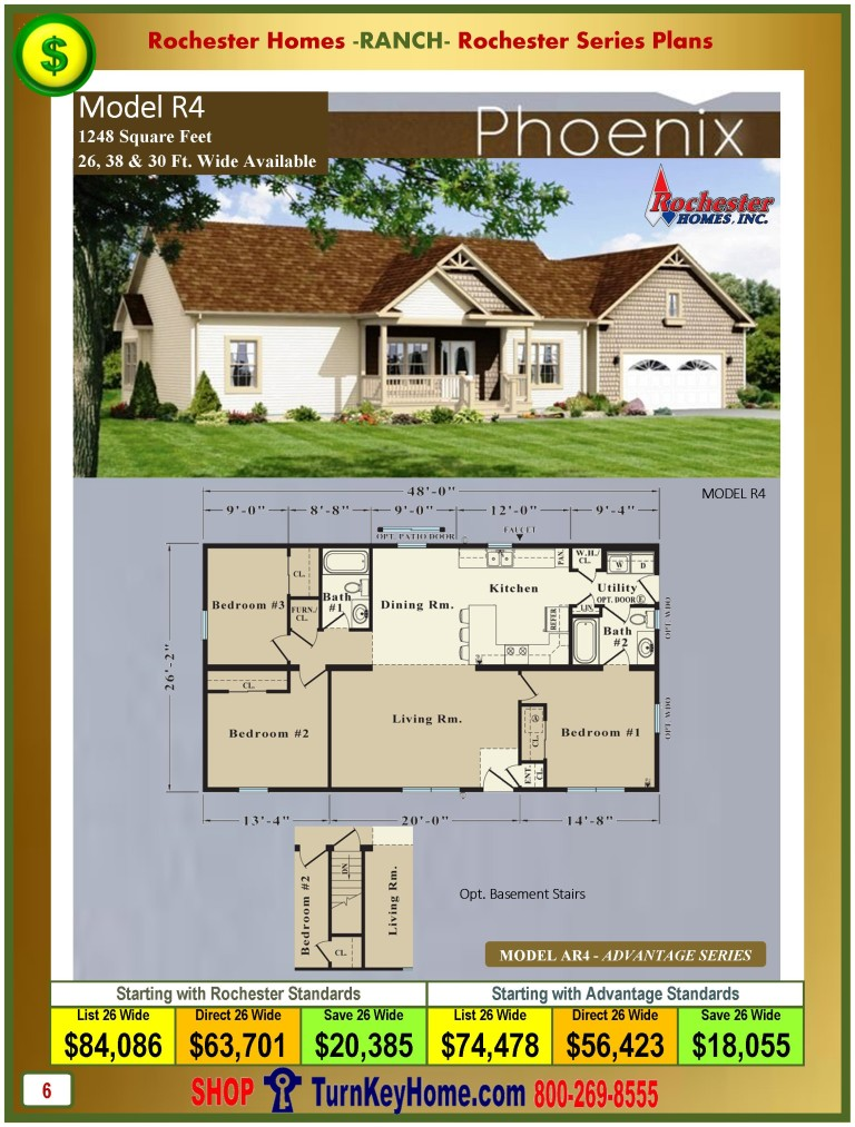 Ranch home plan and price catalog rochester homes indiana Ranch house designs inc