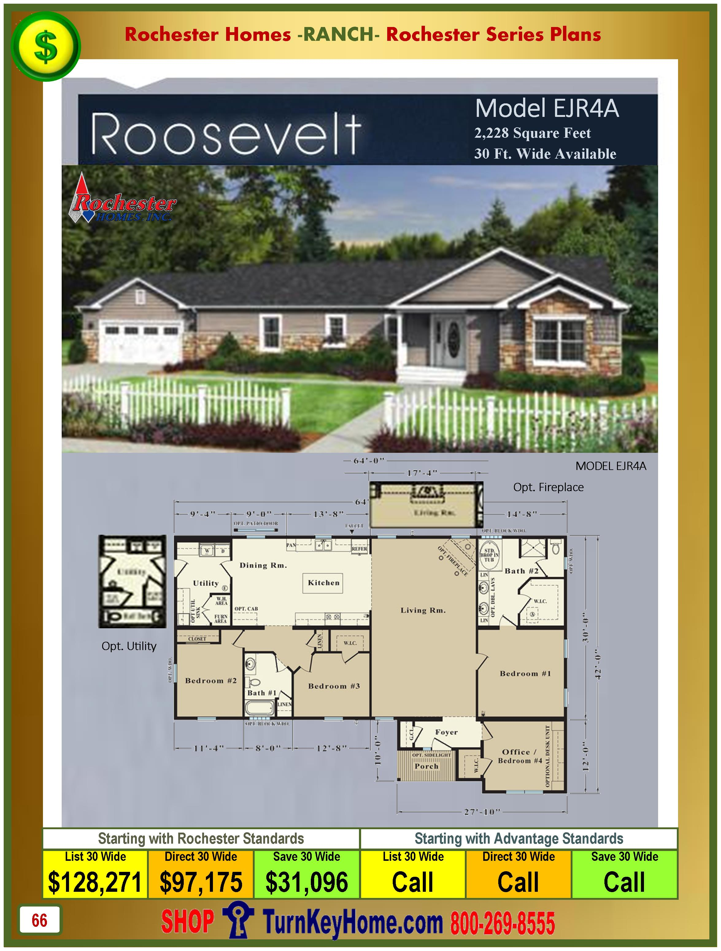 Price Modular Homes roosevelt rochester modular home model ejr4a plan price