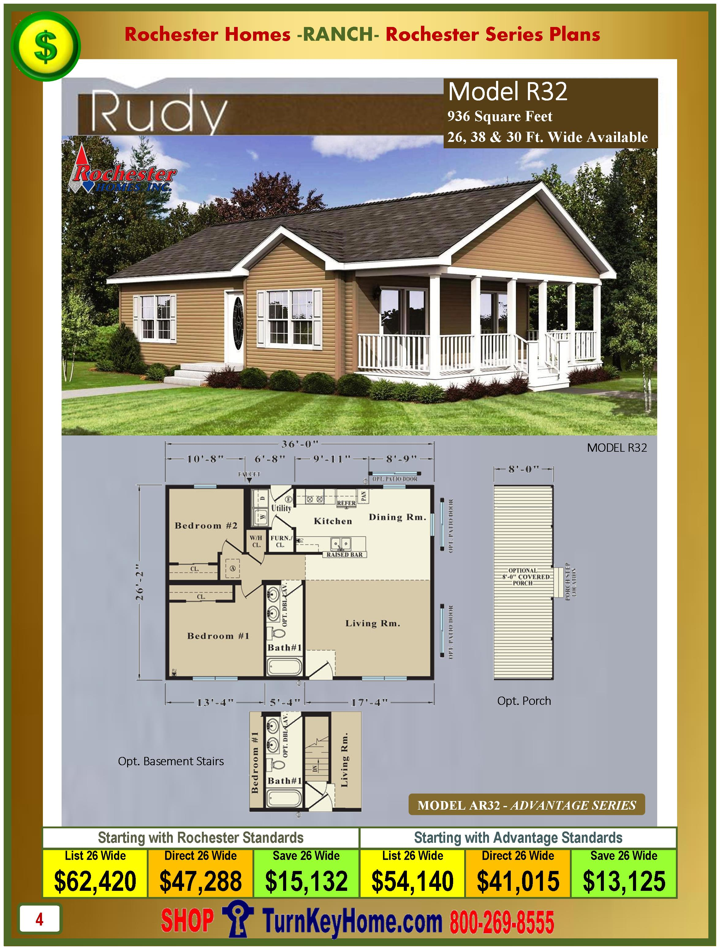 Ranch modular home prices from rochester homes inc ranch for New construction ranch style homes in illinois