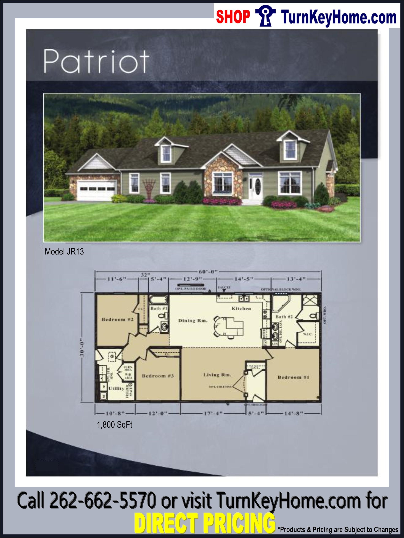 PATRIOT JR13 Ranch Home 3 Bed 2 Bath Plan 1800 SF Priced