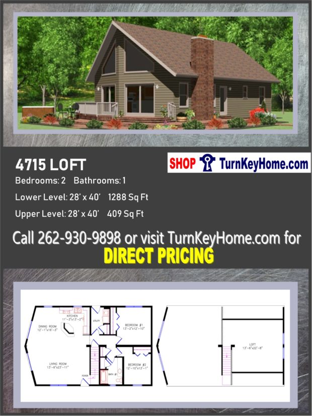 4715 LOFT E1 Chalet Style Home 2 Bed 1 Bath Plan Priced from – Chalet Home Plans Modular