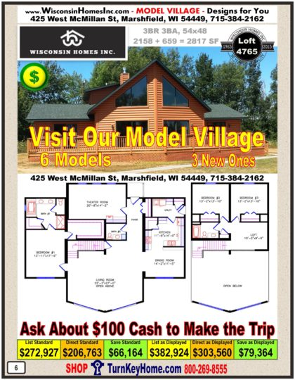 Model Village of Modular Homes Priced FROM Wisconsin Home Inc Ranch, Cape Cod, Cottage, Cavalier, Alpine, Chalet and Cabin Plans