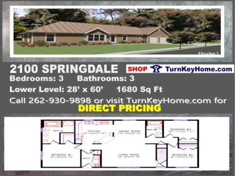 2100 SPRINGDALE E2 Ranch Home 3 Bed 3 Bath Plan 1680 SF Priced From  Wisconsin Homes Inc. Modular Plan Designs