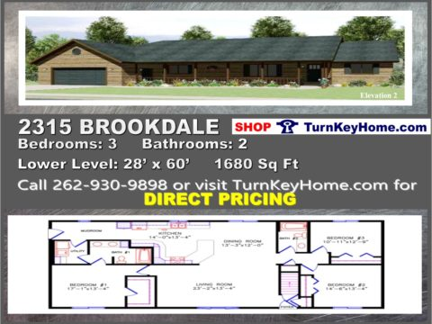 2315 brookdale e2 ranch home 3 bed 2 bath plan 1680 sf for Home builders wisconsin
