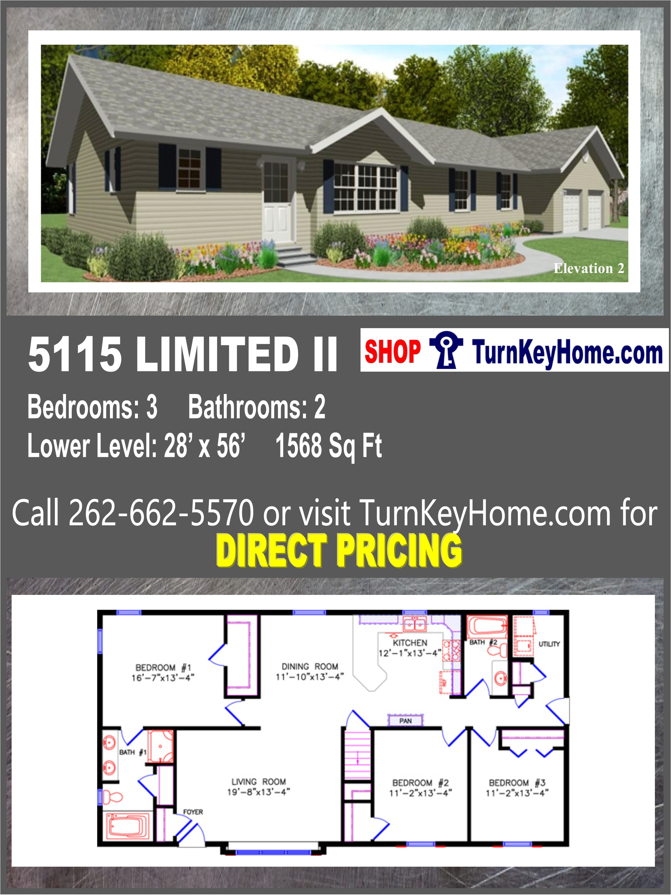 5115 LIMITED II E2 Ranch Home 3 Bed 2 Bath Plan 1568 SF ... on ranch log homes, townhouse plans, 3 car garage plans, summer cottage plans, log cabin plans, ranch luxury homes, strip mall plans, ranch modular homes, ranch art, ranch style homes, ranch backyard, floor plans,